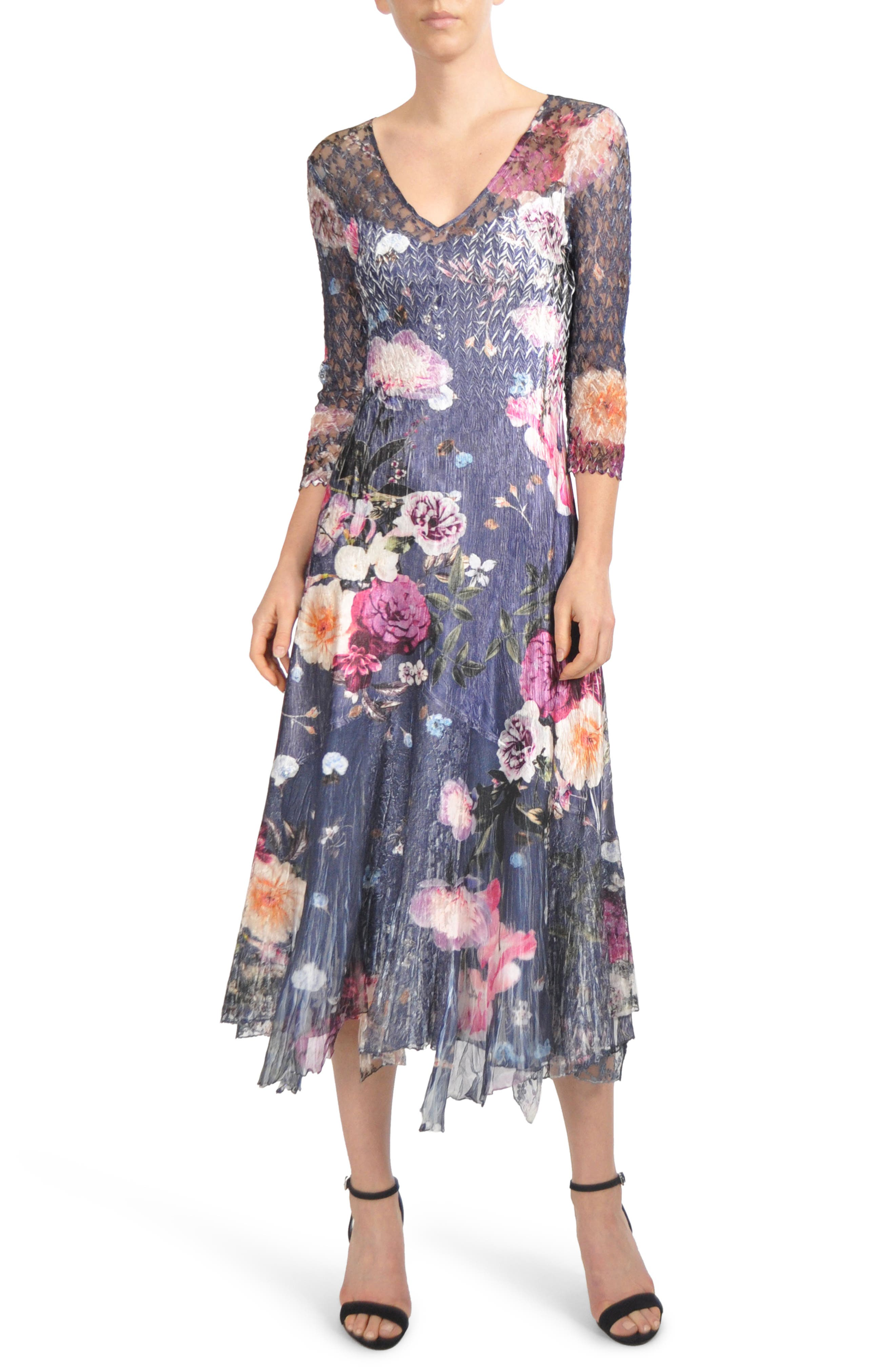 Alternate Image 1 Selected - Komarov Foral Print Lace Inset Dress (Regular & Petite)