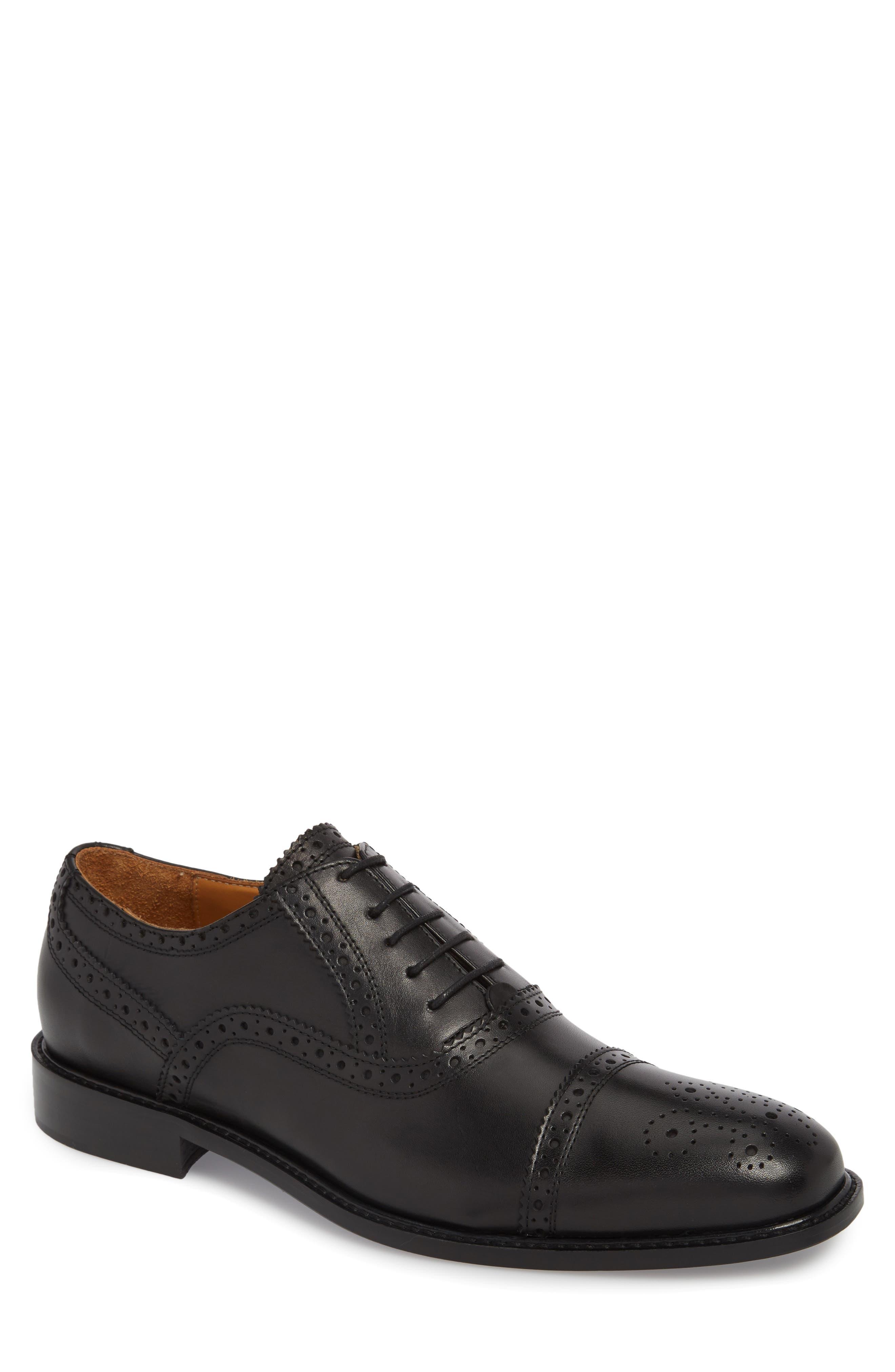 Index Cap Toe Oxford,                             Main thumbnail 1, color,                             Black Leather
