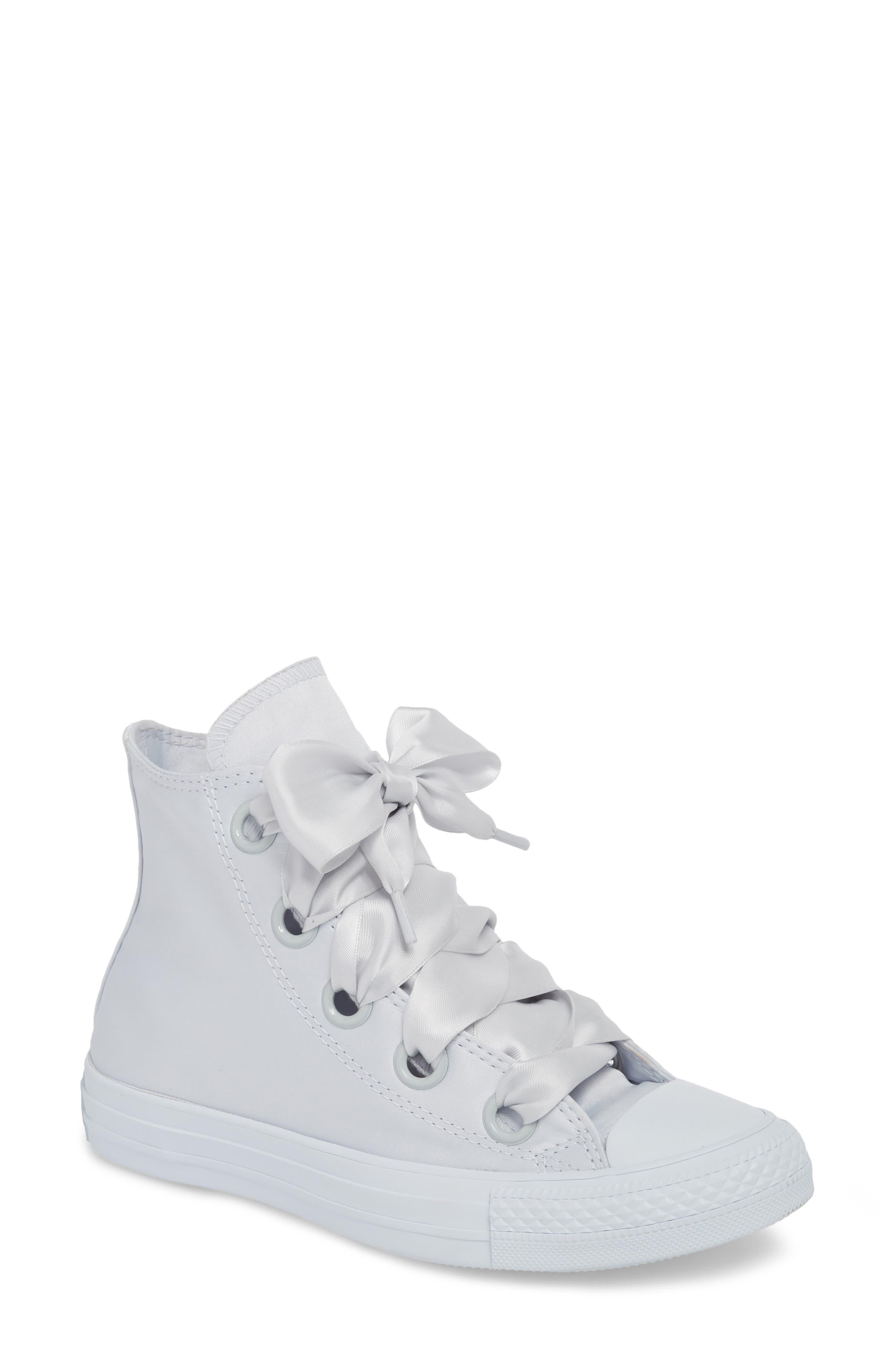 Chuck Taylor<sup>®</sup> All Star<sup>®</sup> Big Eyelet High Top Sneaker,                             Main thumbnail 1, color,                             Platinum