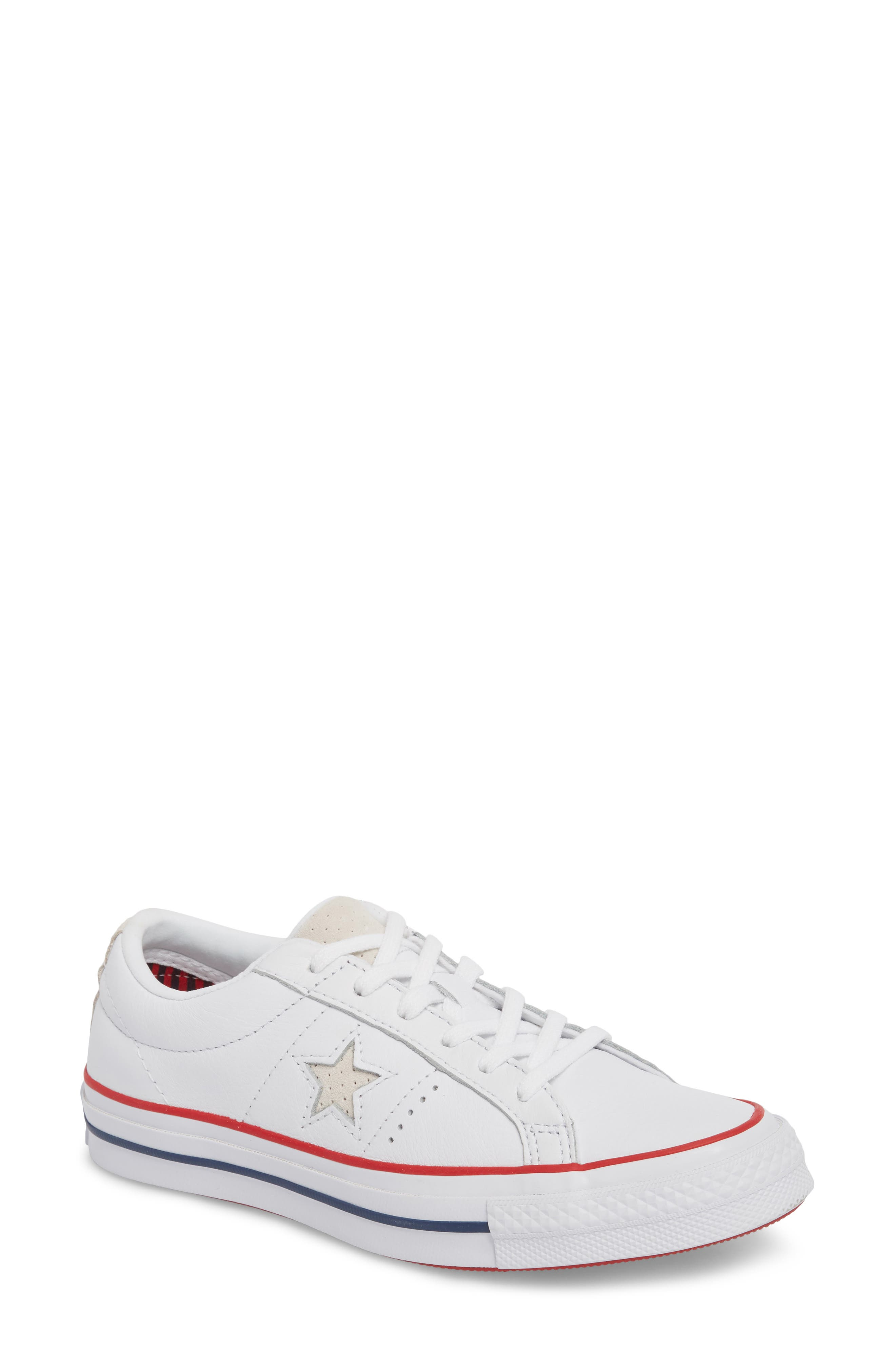 One Star Sneaker,                             Main thumbnail 1, color,                             White/ Gym Red