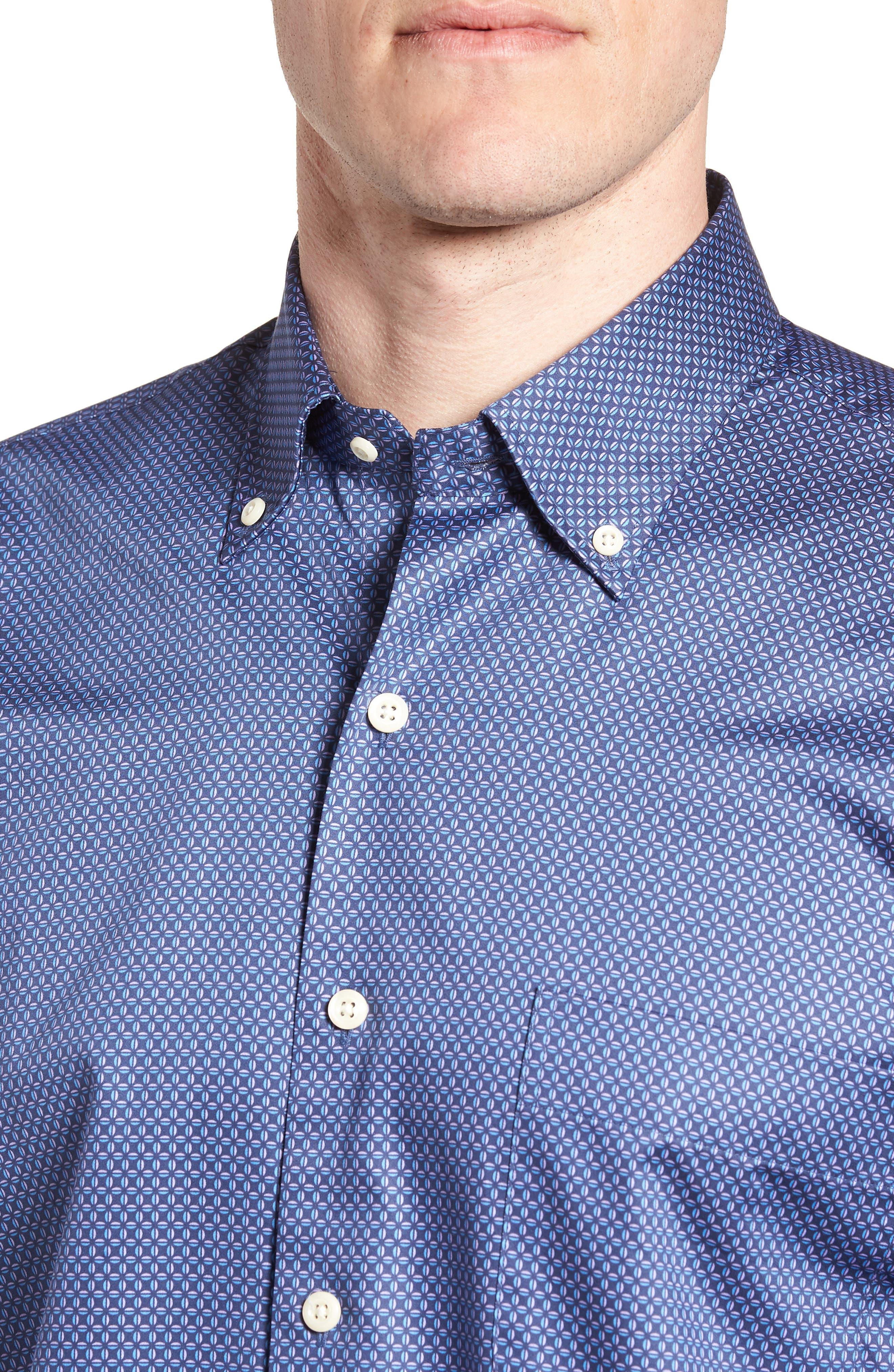 Dark Roast Print Sport Shirt,                             Alternate thumbnail 4, color,                             Yankee Blue