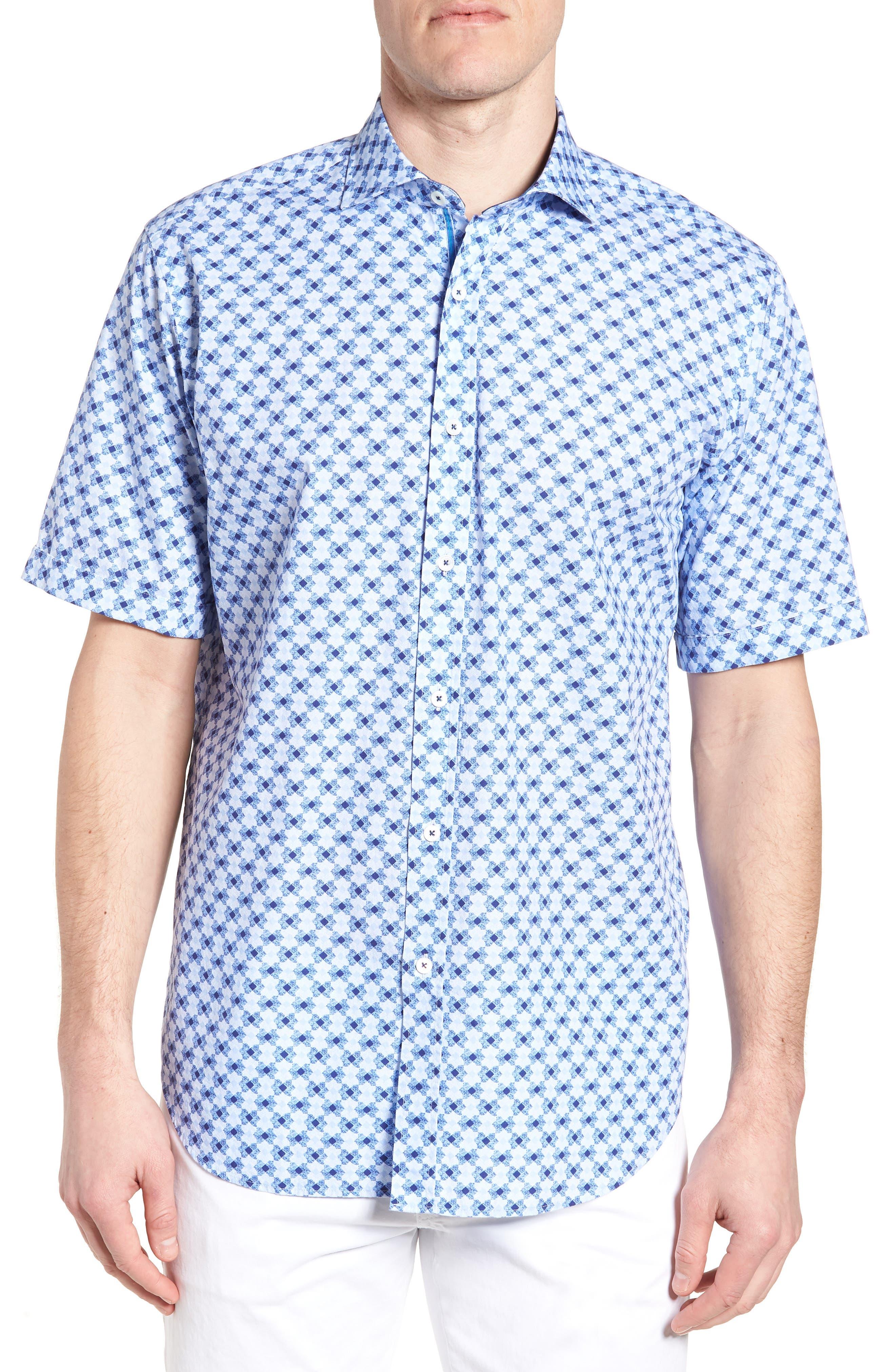 Classic Fit Geo Print Sport Shirt,                         Main,                         color, Sky