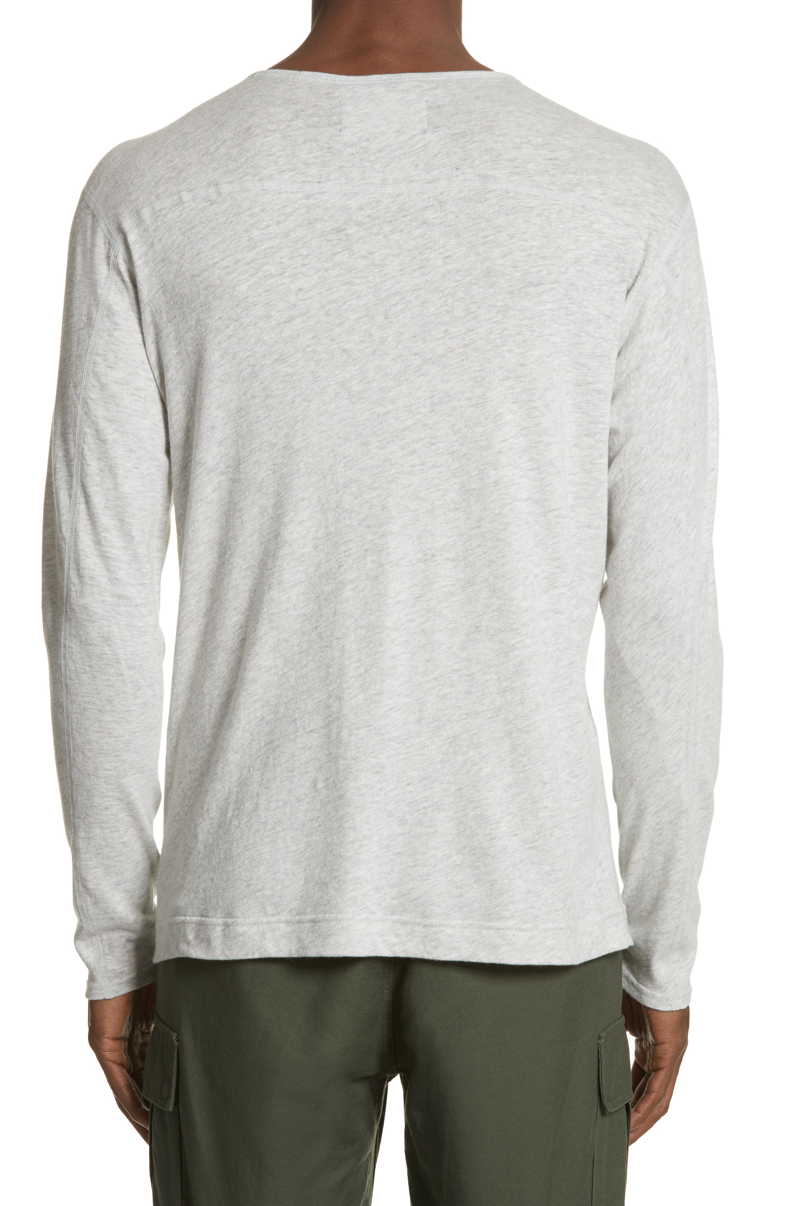Linen Blend Jersey Long Sleeve T-Shirt,                             Alternate thumbnail 4, color,                             Natural