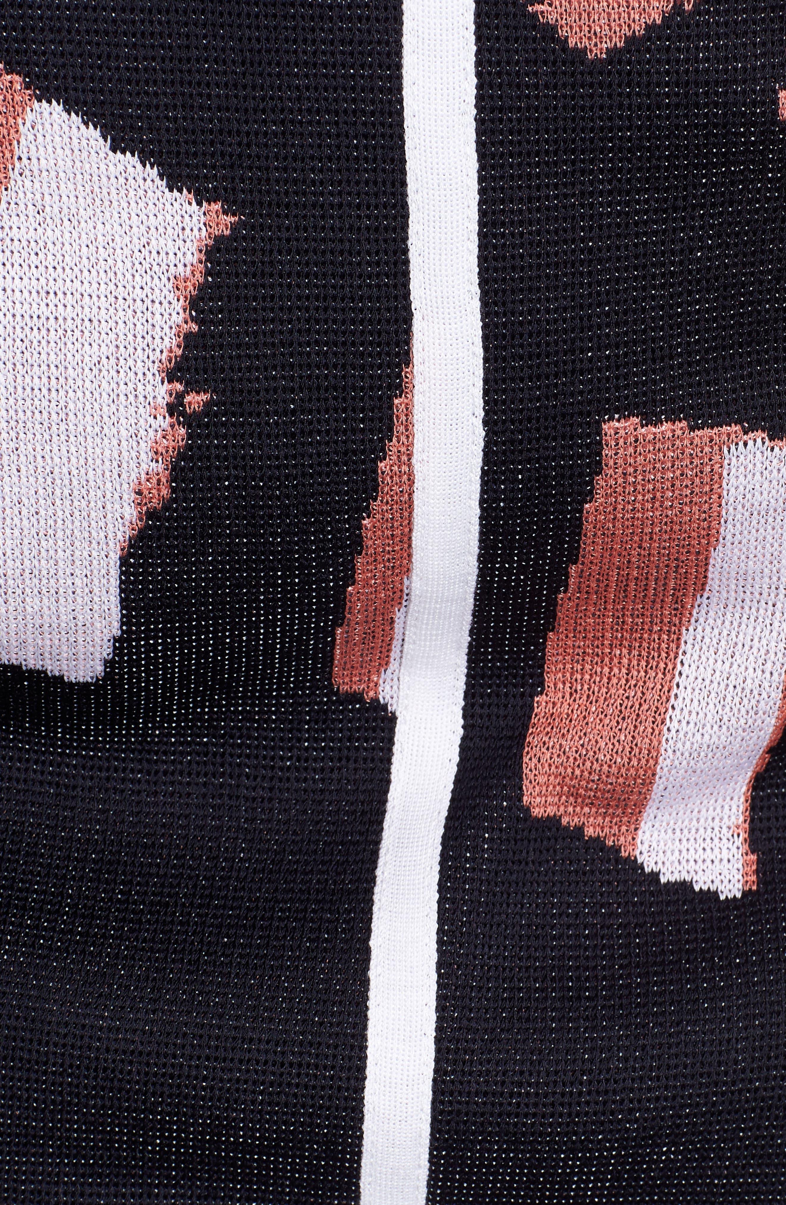 Zip Front Knit Jacket,                             Alternate thumbnail 5, color,                             Navy/ Daylily/ White