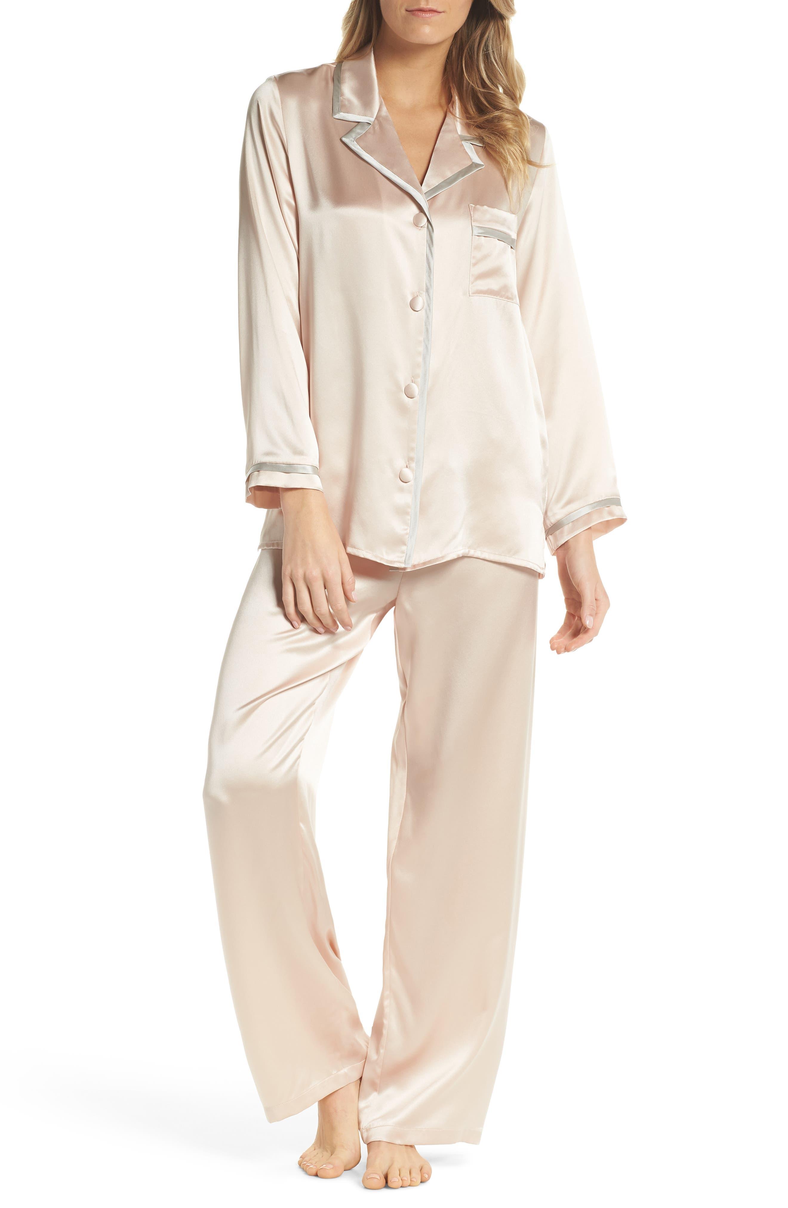 Coco Silk Pajamas,                             Main thumbnail 1, color,                             Rose Quartz / Antique Silver