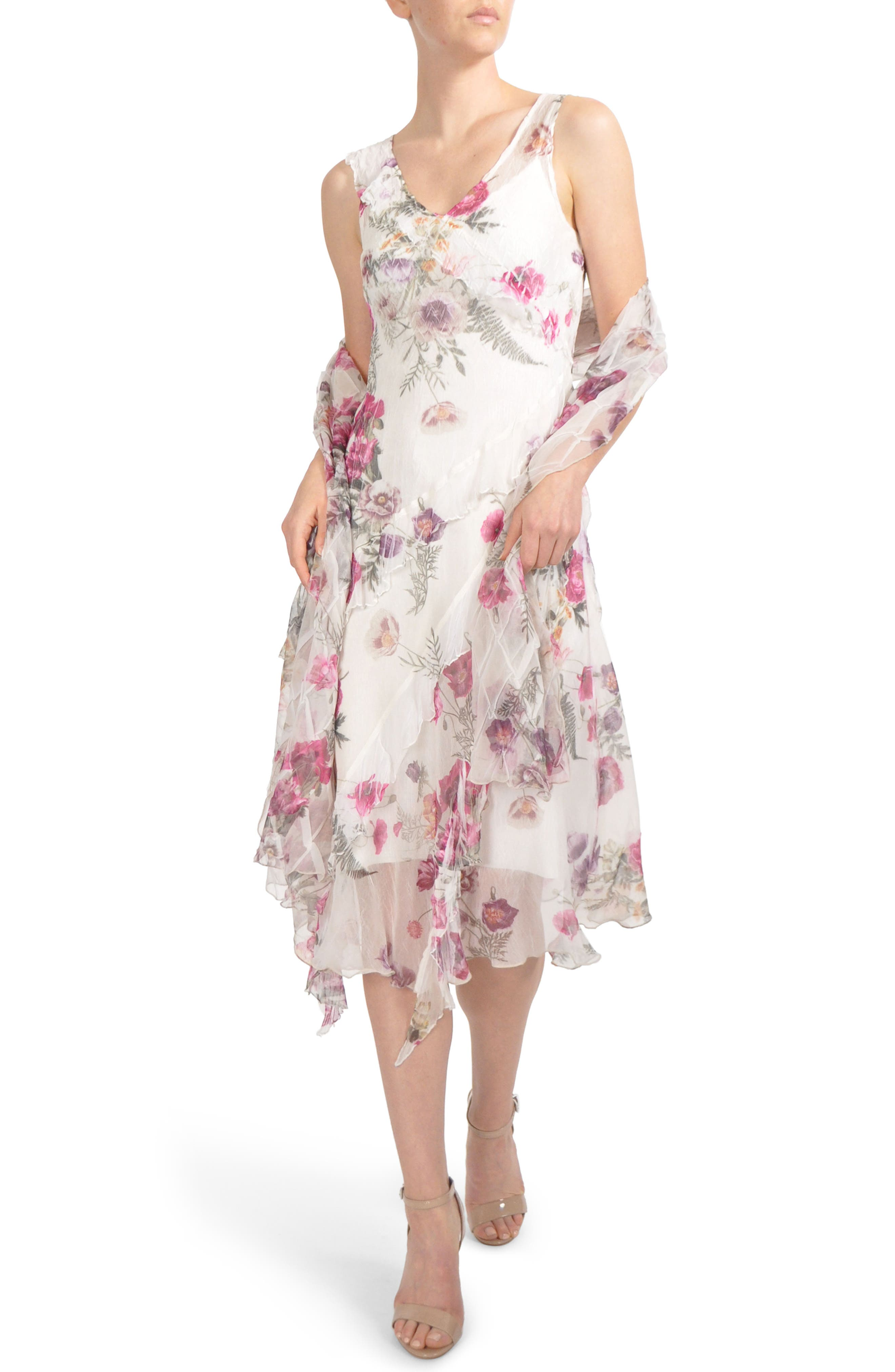 Floral Print Ruffle Midi Dress & Shawl,                             Main thumbnail 1, color,                             Antique Ivy