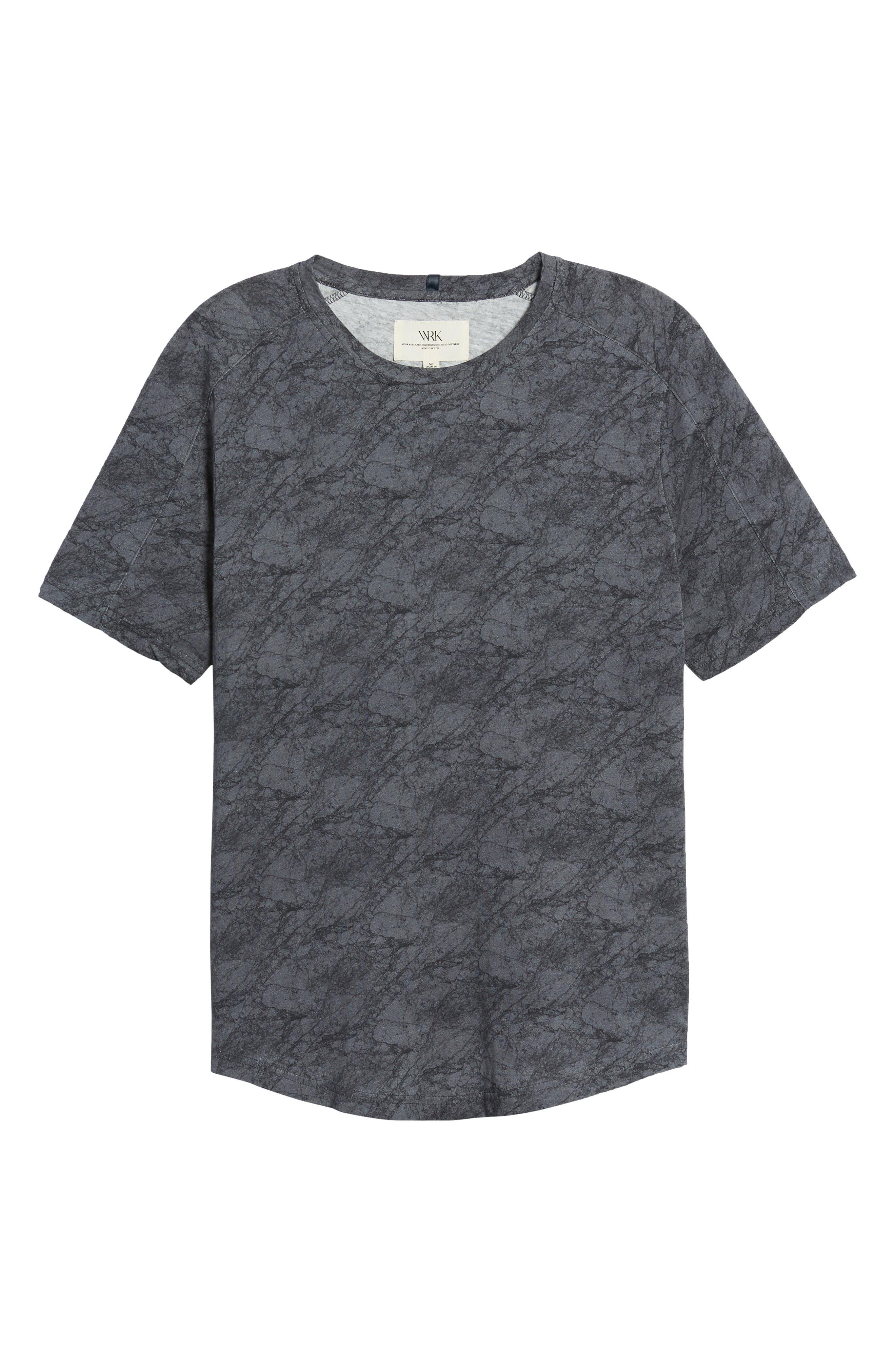 Chelsea Marble Print T-Shirt,                             Alternate thumbnail 6, color,                             Black