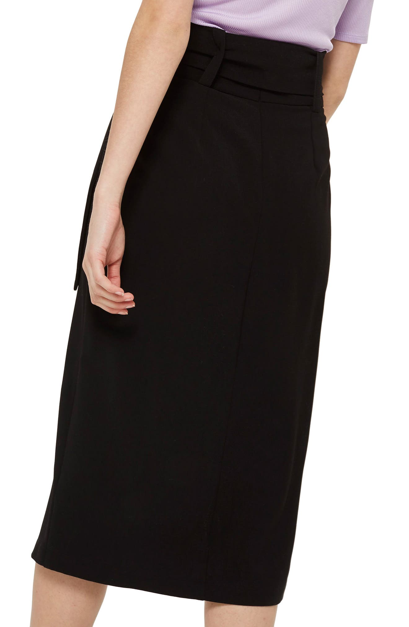 Ring Buckle Midi Skirt,                             Alternate thumbnail 2, color,                             Black Multi