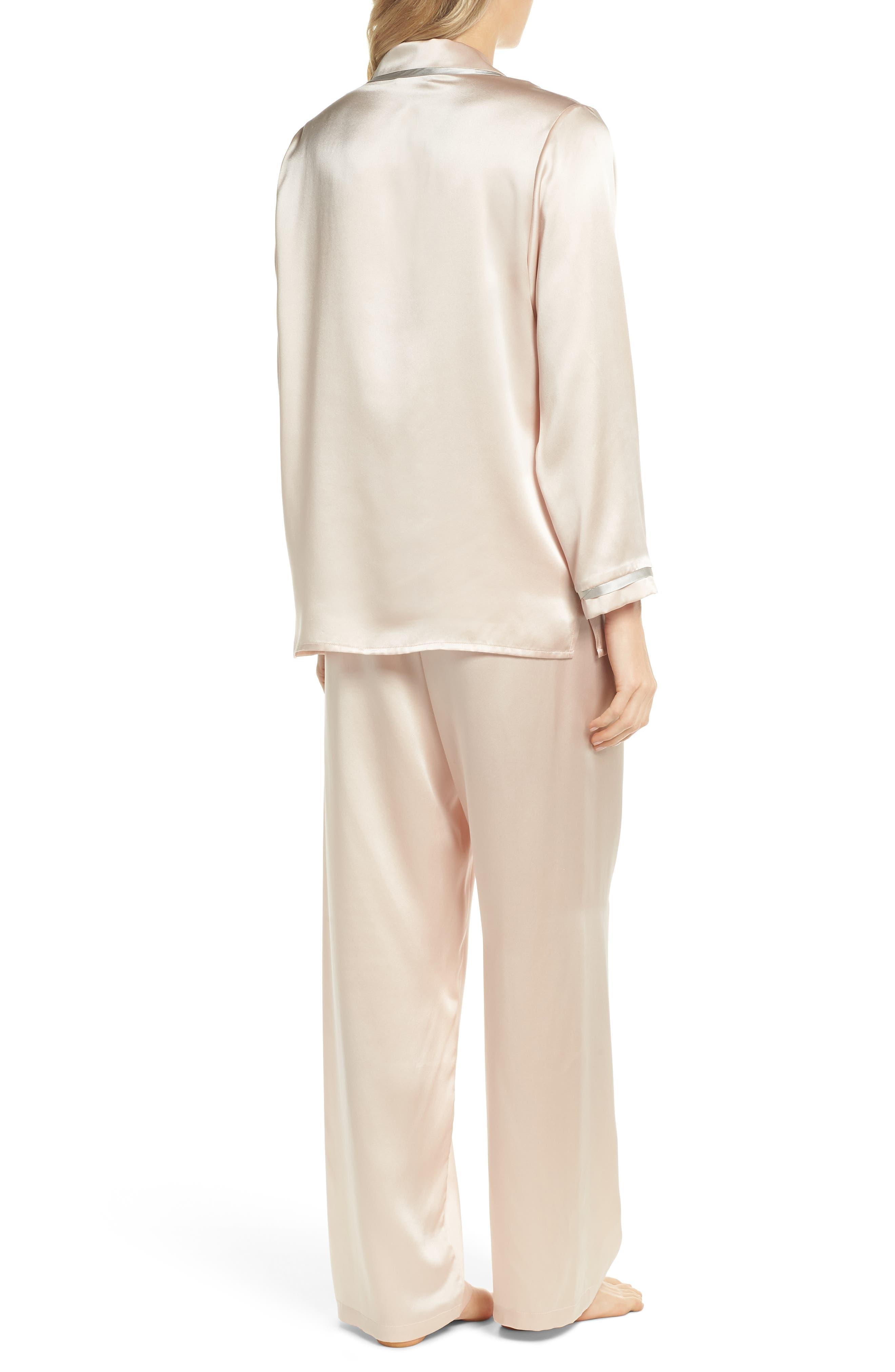 Coco Silk Pajamas,                             Alternate thumbnail 2, color,                             Rose Quartz / Antique Silver