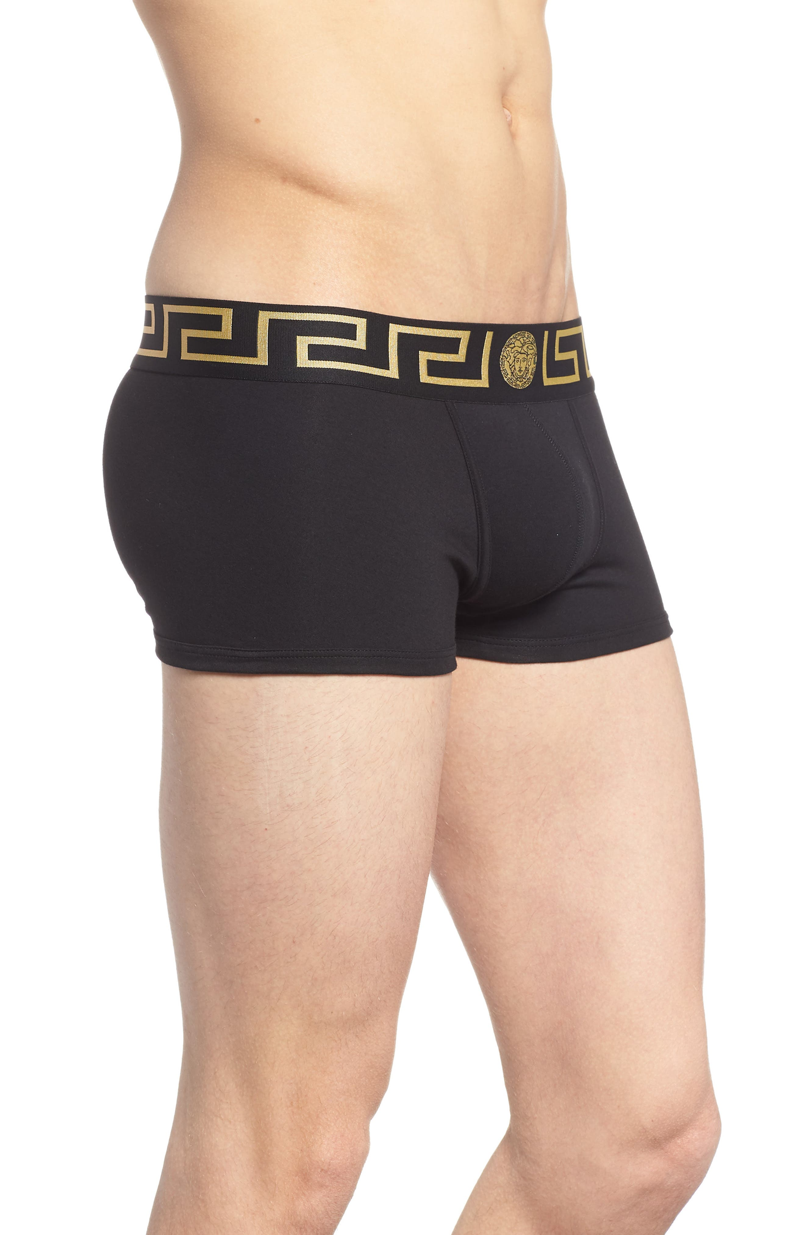 Versace Collection 2-Pack Low Rise Trunks,                             Alternate thumbnail 4, color,                             Black/ Gold