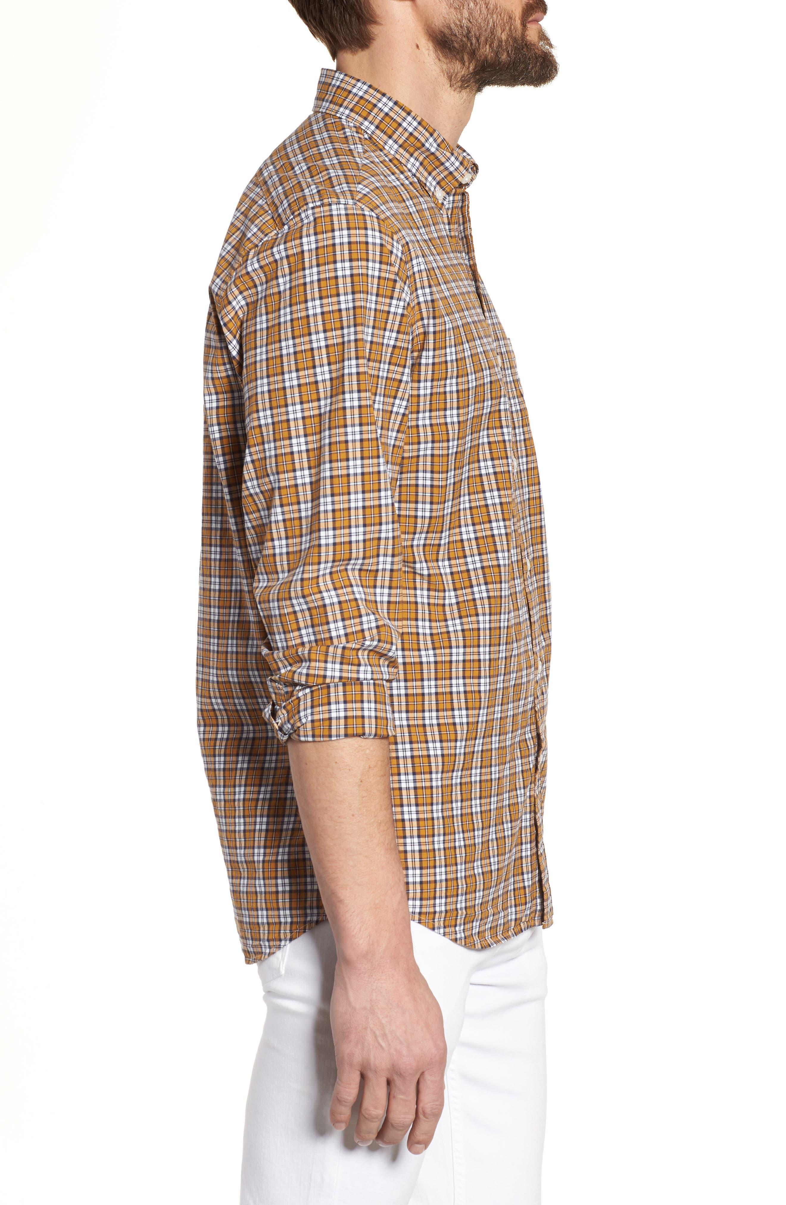 J.Crew Slim Fit Stretch Secret Wash Plaid Sport Shirt,                             Alternate thumbnail 3, color,                             Warm Cider