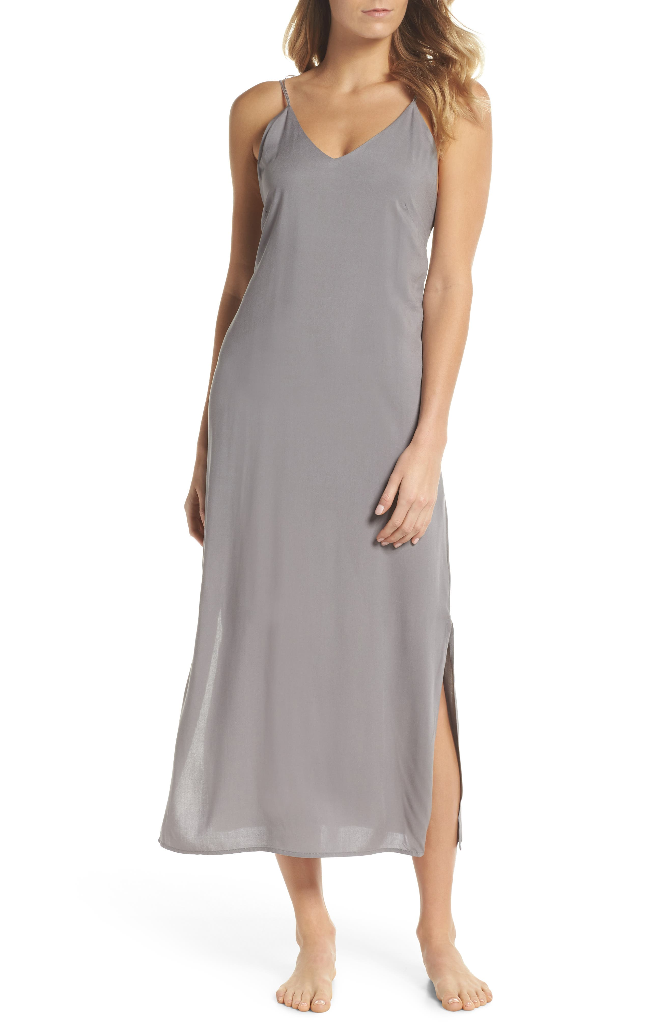 Strappy Nightgown,                         Main,                         color, Aerial Gray