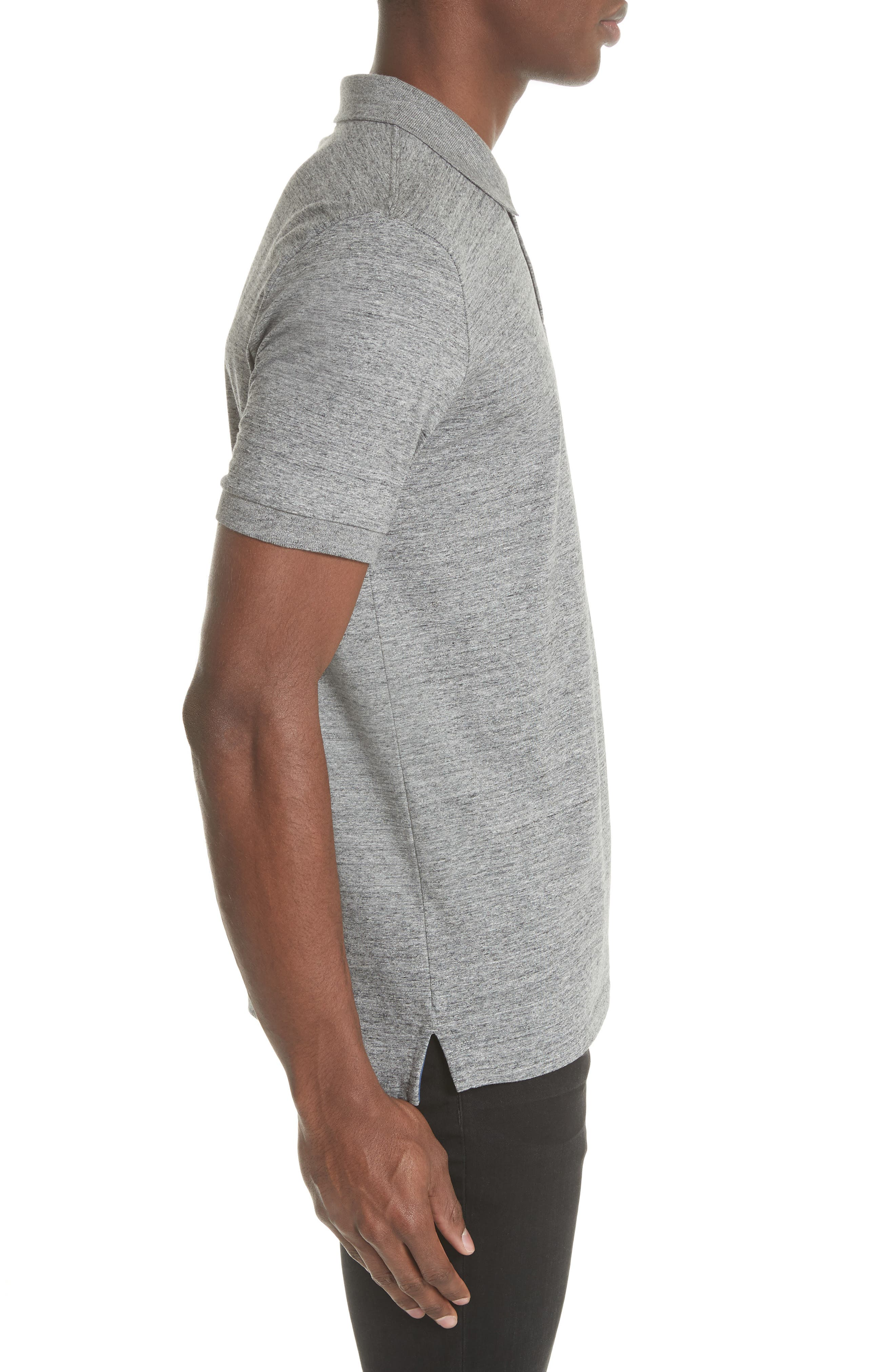 Jersey Polo,                             Alternate thumbnail 3, color,                             Grey Melange