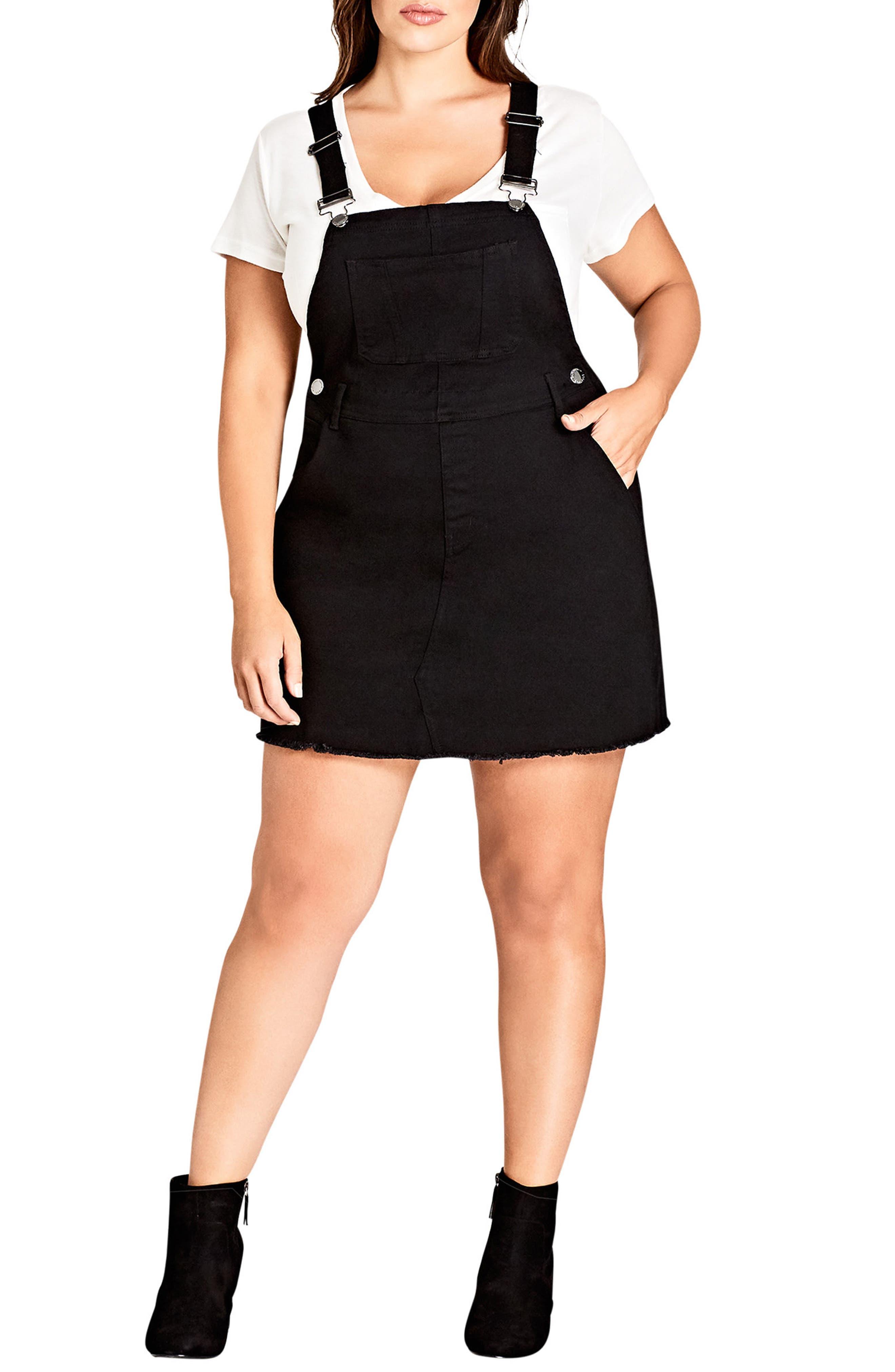 Denim Overall Dress,                         Main,                         color, Black