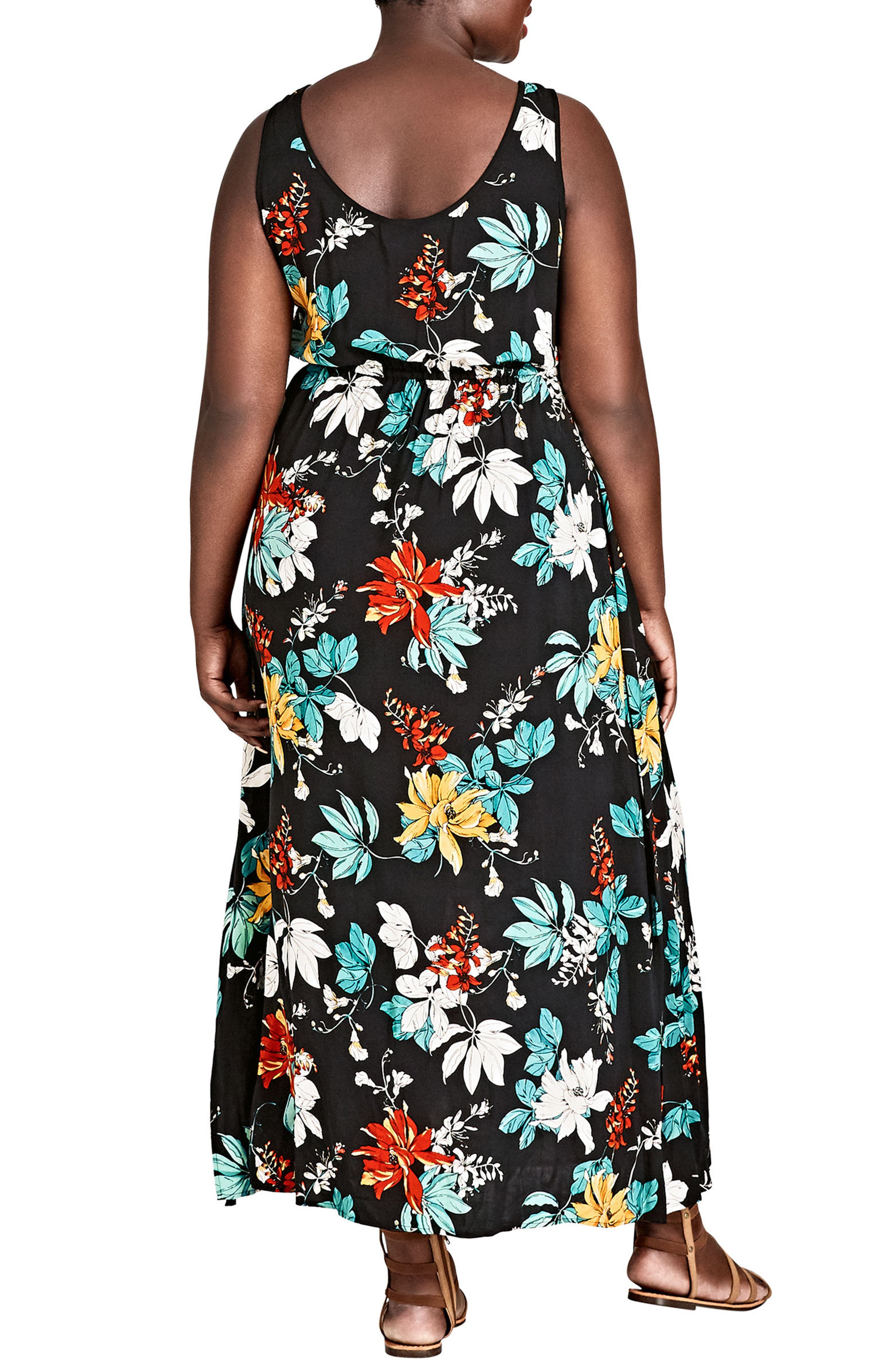Tropical Print Maxi Dress,                             Alternate thumbnail 2, color,                             Tropic Night