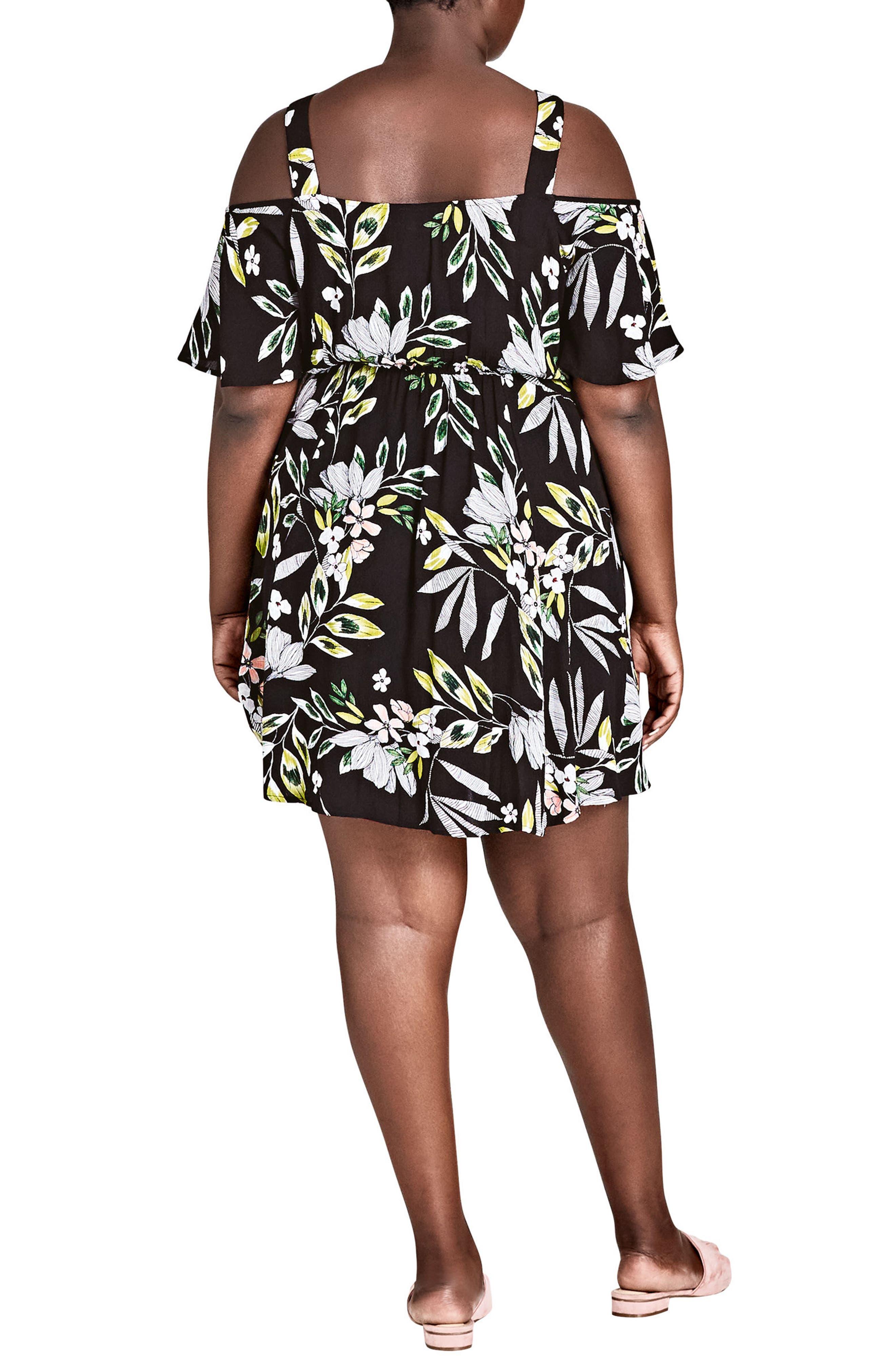 Maui Floral Cold Shoulder Dress,                             Alternate thumbnail 2, color,                             Maui Floral