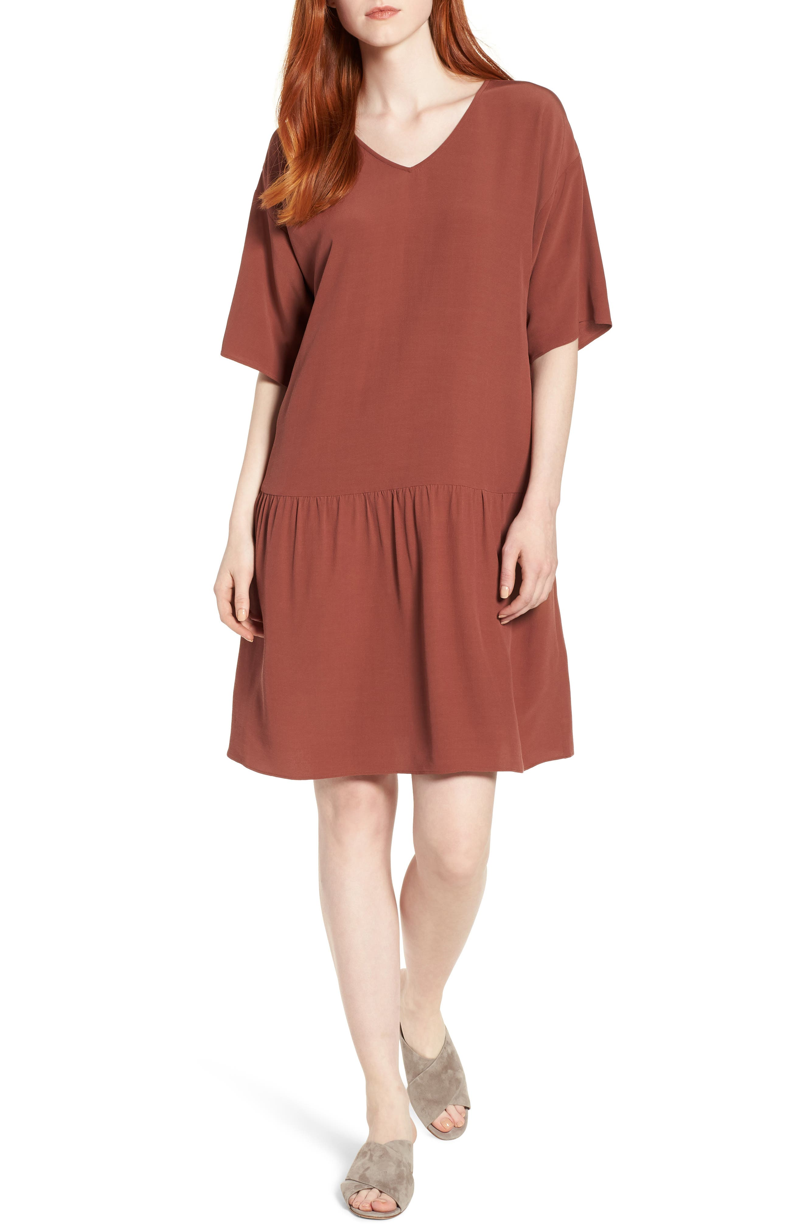 Drop Waist Tencel<sup>®</sup> Lyocell Blend Dress,                         Main,                         color, Russet
