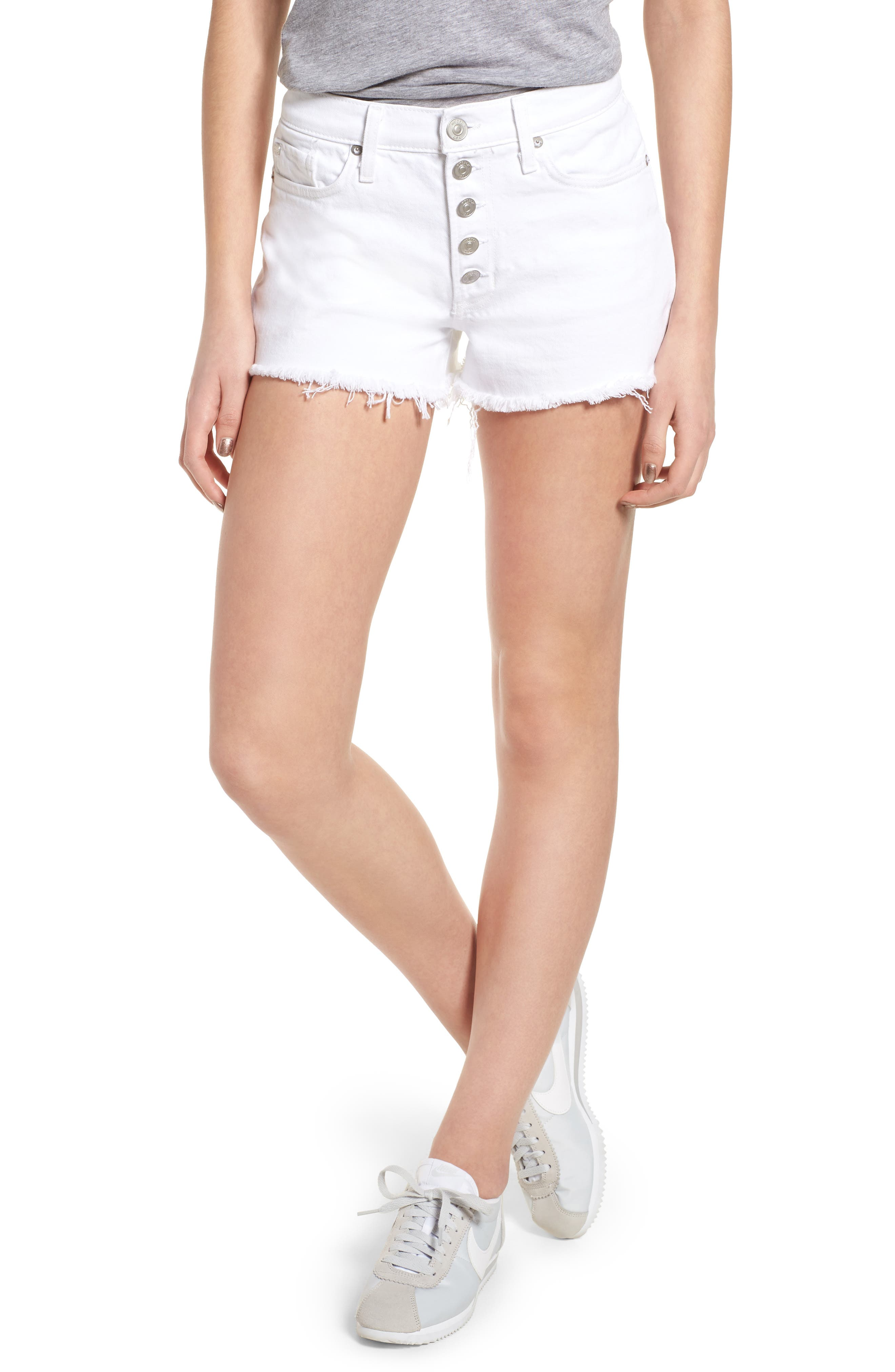 Zoeey Button Fly High Waist Denim Shorts,                         Main,                         color, White