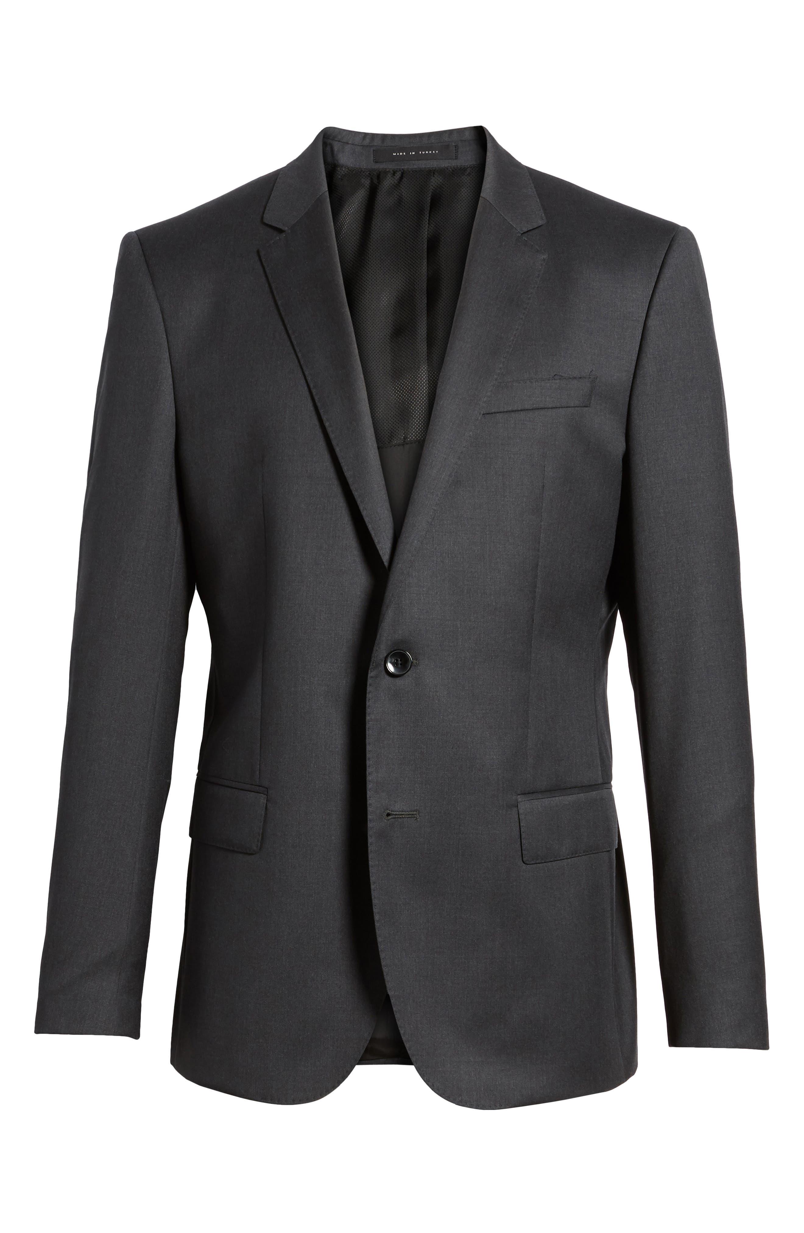 Hayes CYL Trim Fit Solid Wool Sport Coat,                             Alternate thumbnail 6, color,                             Dark Grey