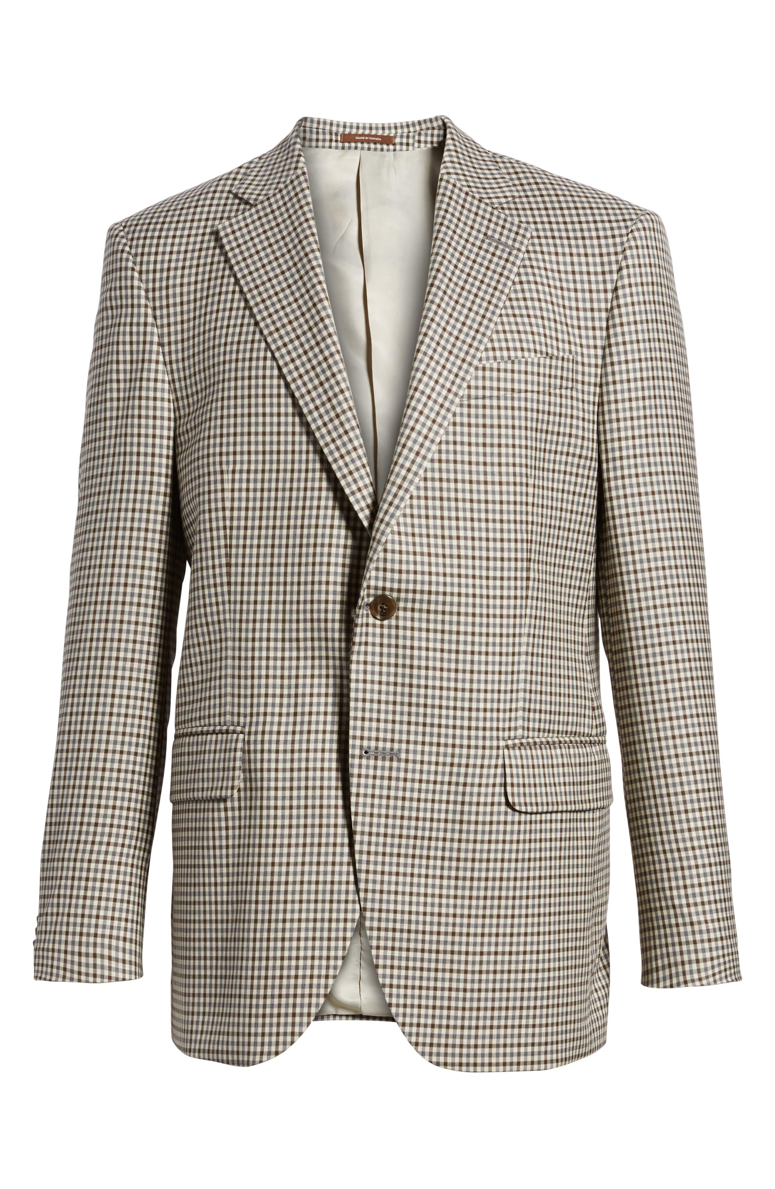 Classic Fit Check Wool Sport Coat,                             Alternate thumbnail 6, color,                             Tan/Grey