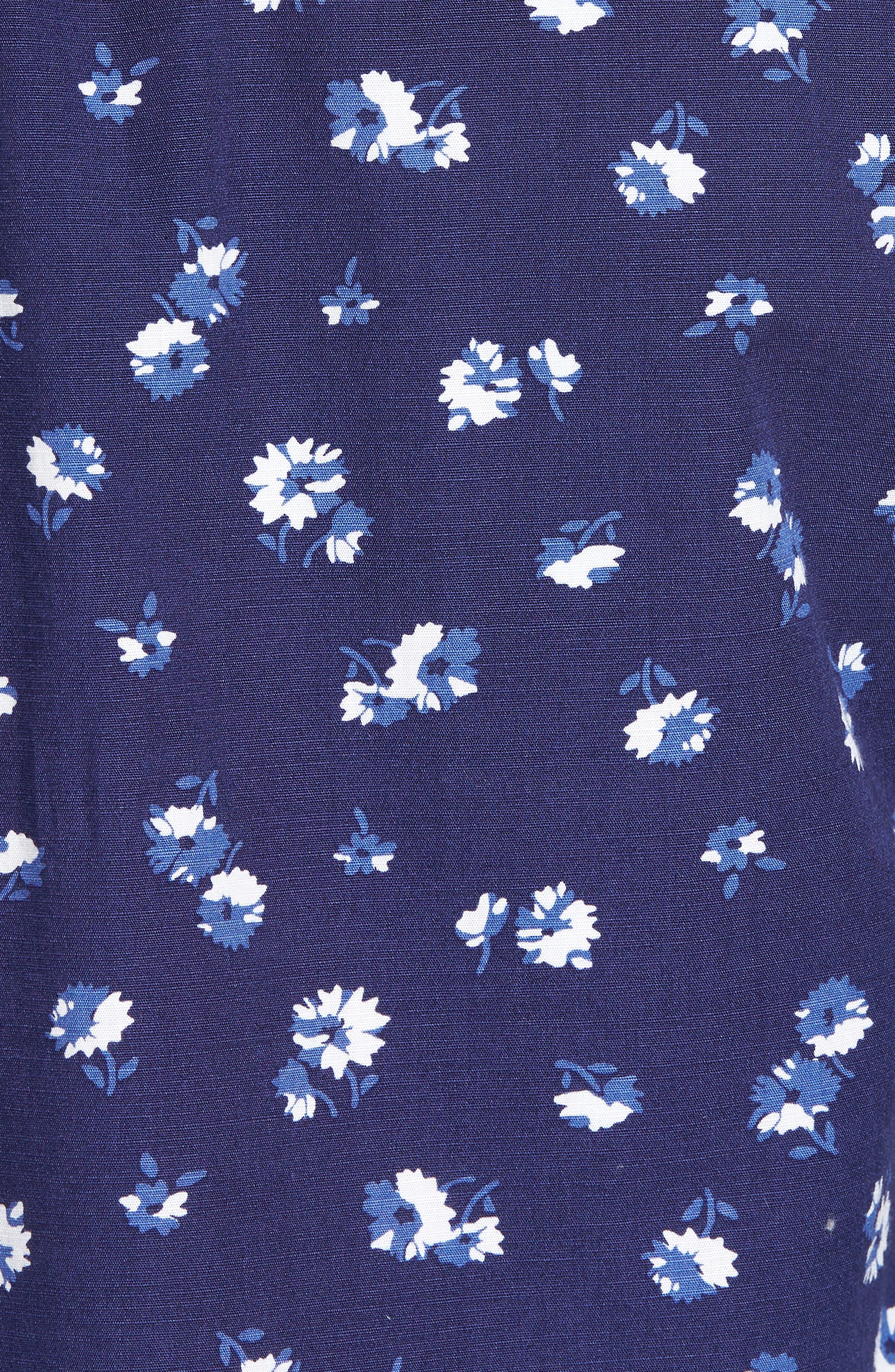Trim Fit Floral Sport Shirt,                             Alternate thumbnail 7, color,                             Navy Iris Aster Flowers