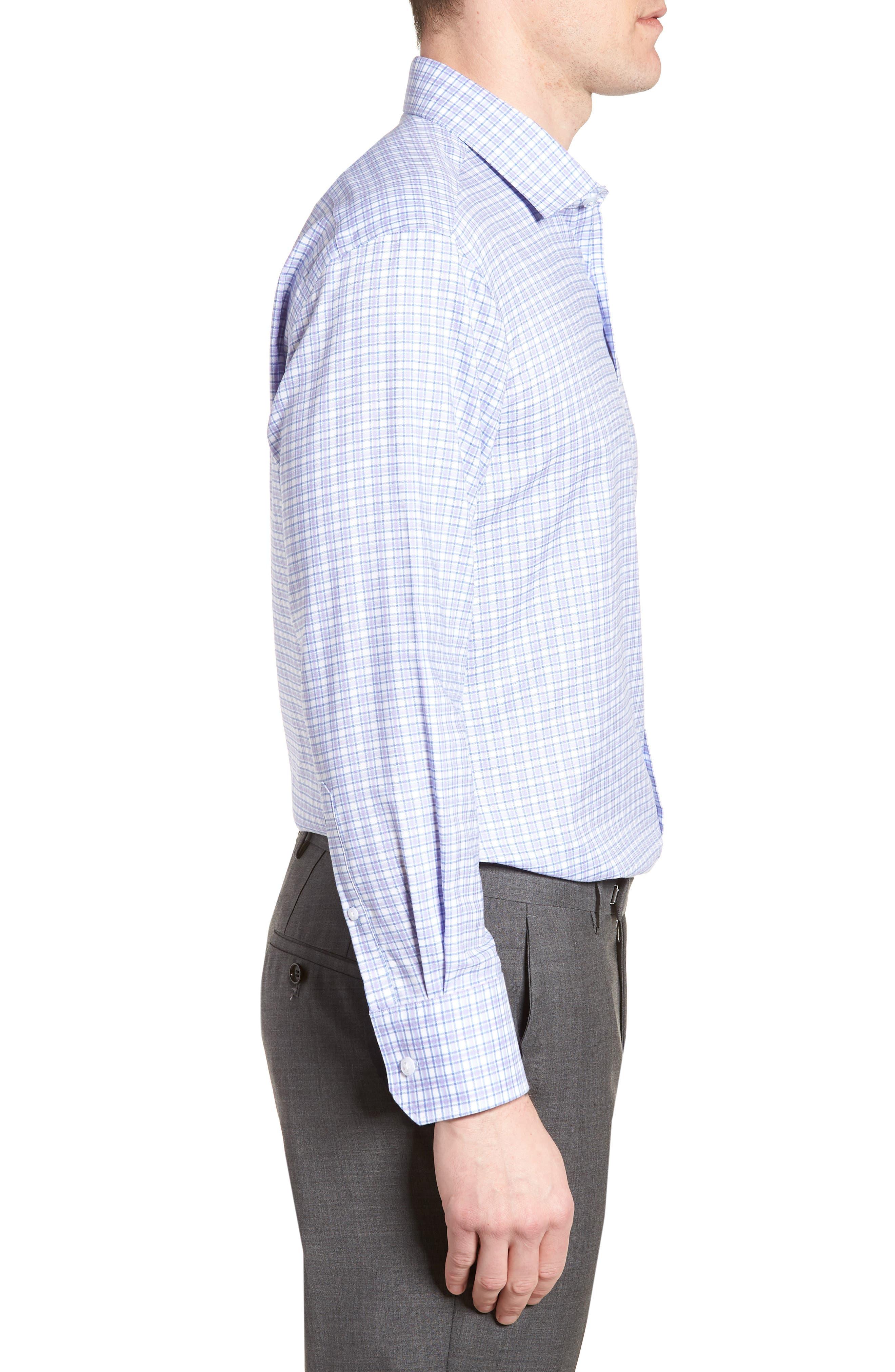 Neil Trim Fit Check Dress Shirt,                             Alternate thumbnail 4, color,                             Lavender
