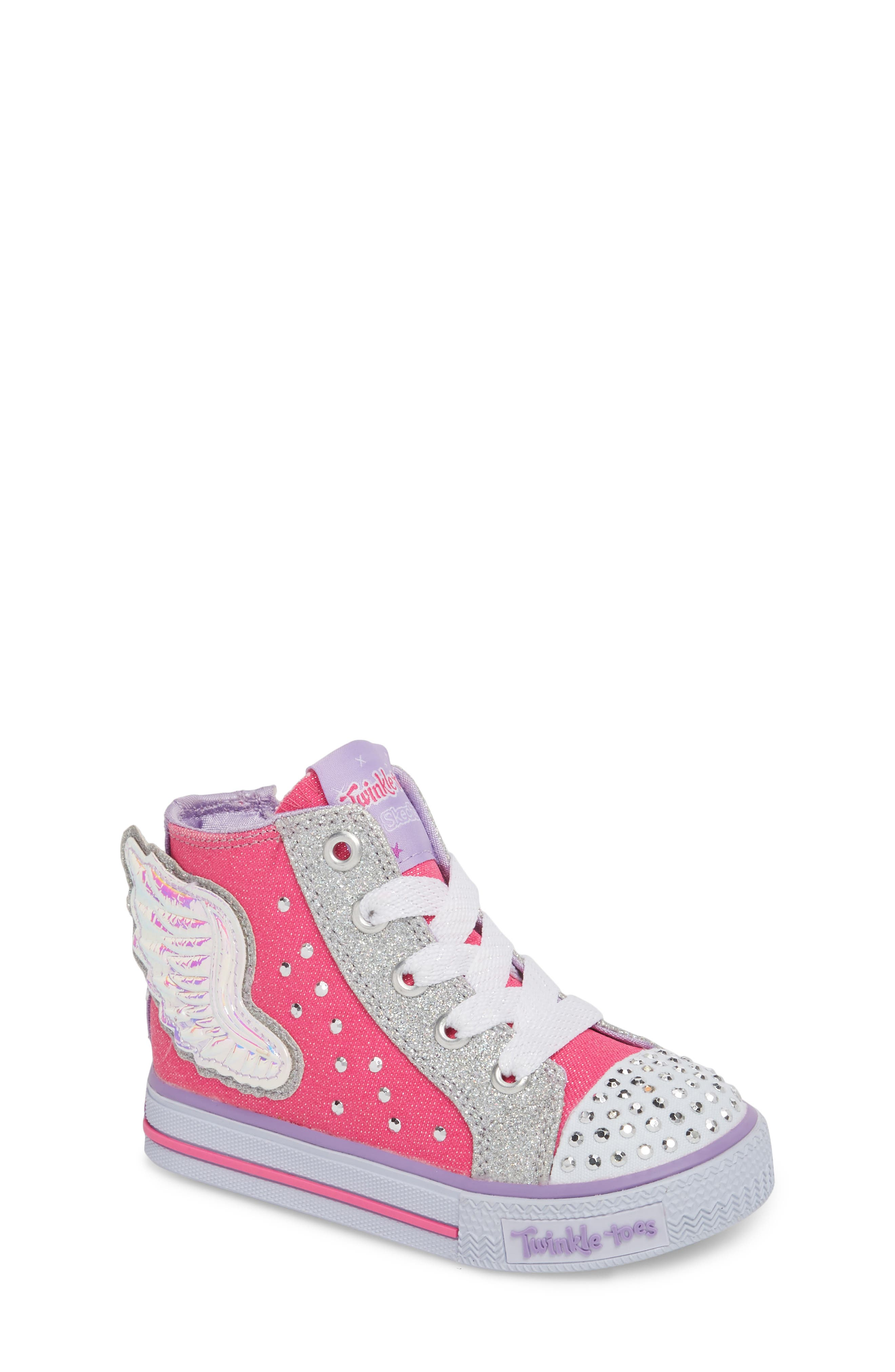 Twinkle Toes Shuffles Fooling Flutters Light-Up High Top Sneaker,                             Main thumbnail 1, color,                             Hot Pink/ Silver