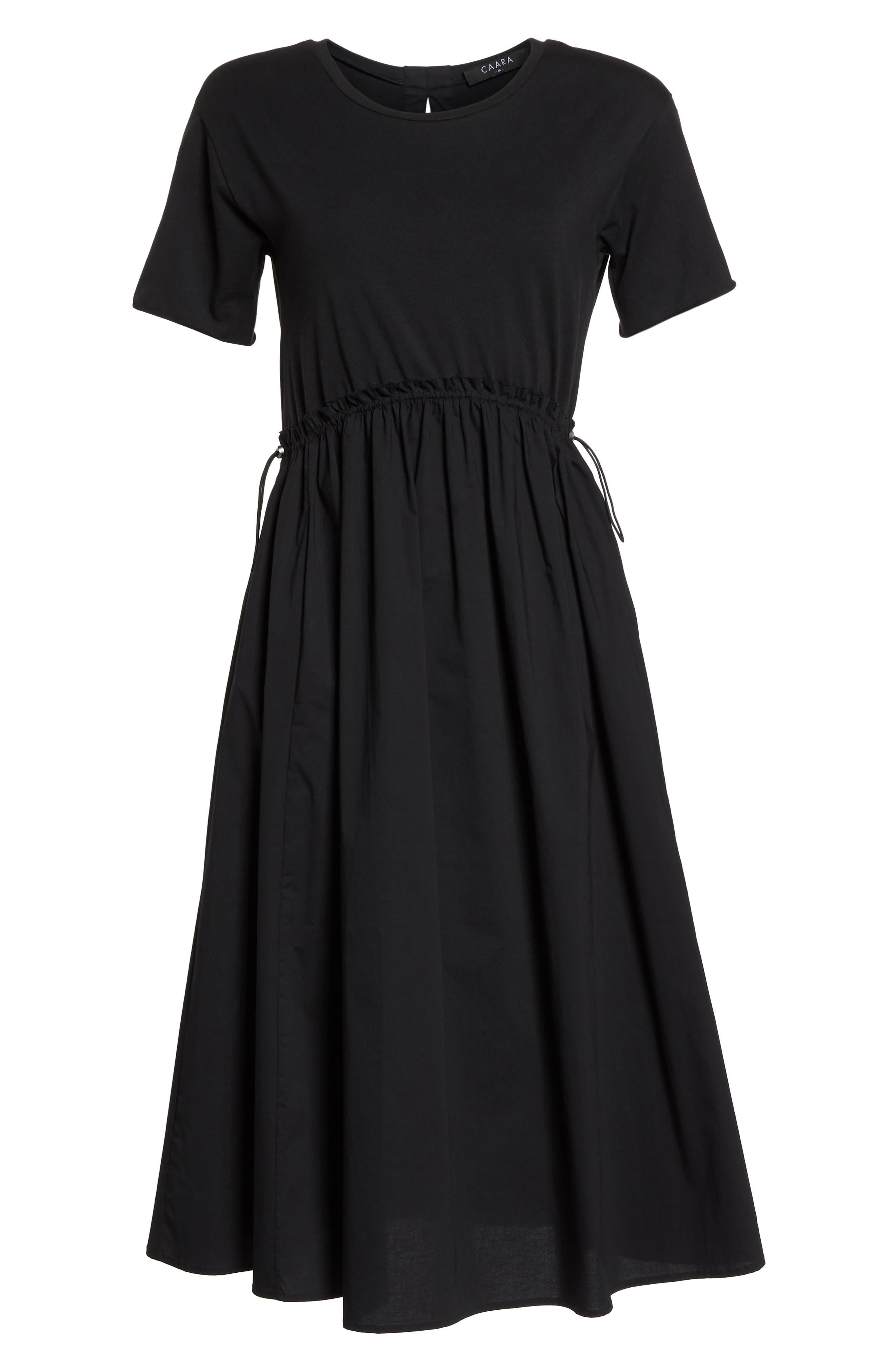 Tie Back Midi Dress,                             Alternate thumbnail 7, color,                             Black