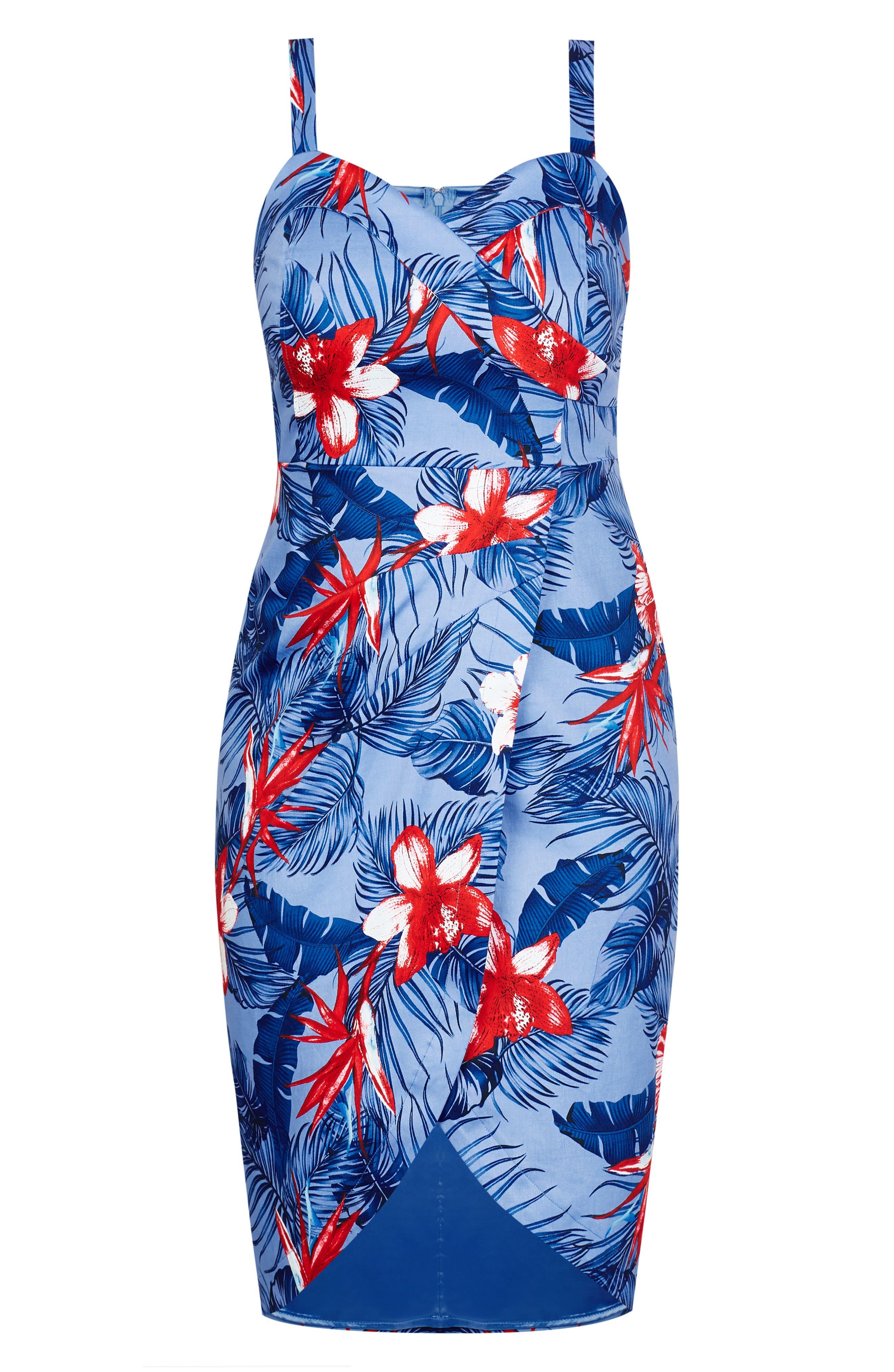 Hawaiian Love Stretch Cotton Dress,                             Alternate thumbnail 3, color,                             Hawaiian Love