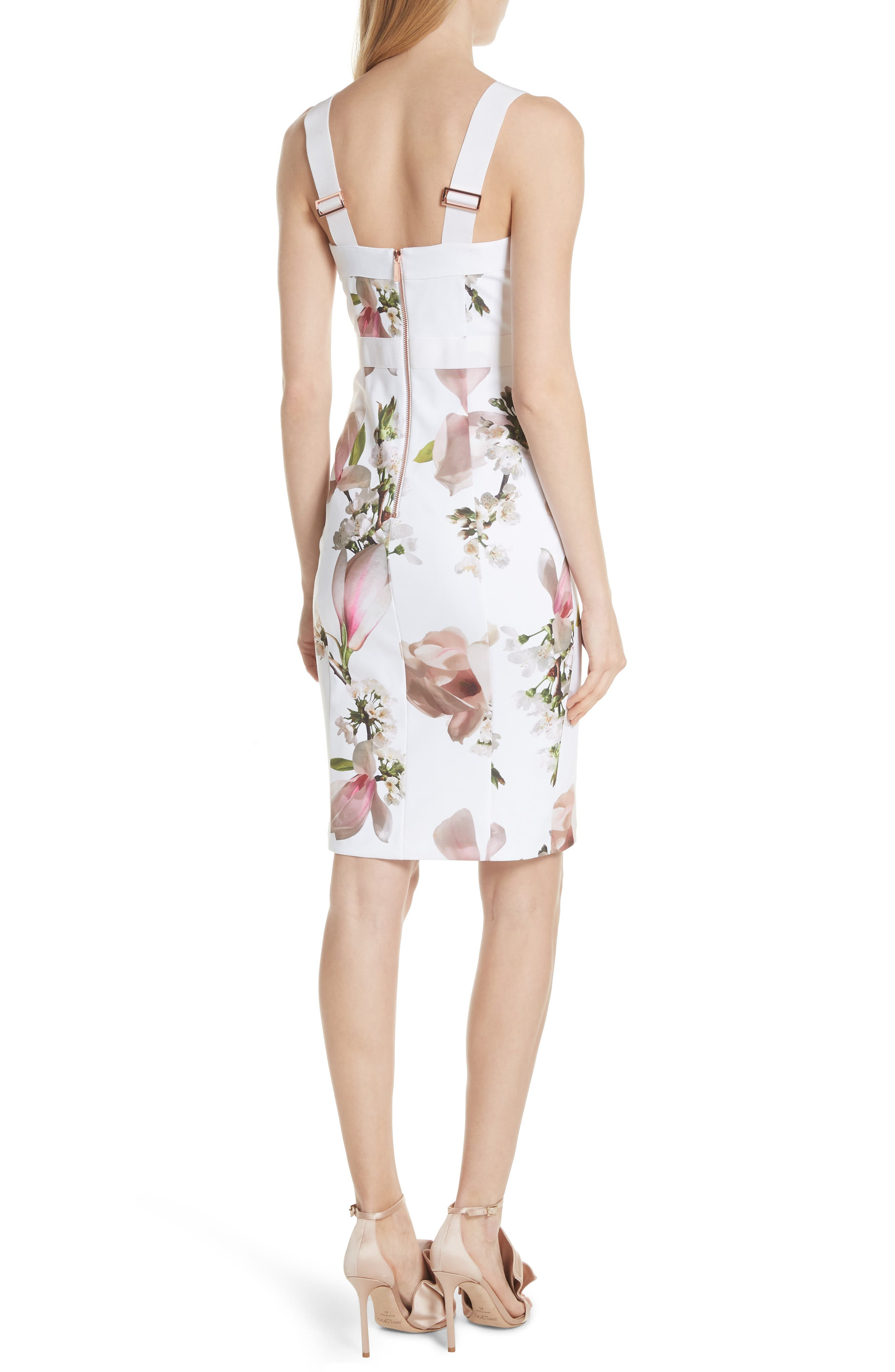 Harmony Floral Sheath Dress,                             Alternate thumbnail 2, color,                             White