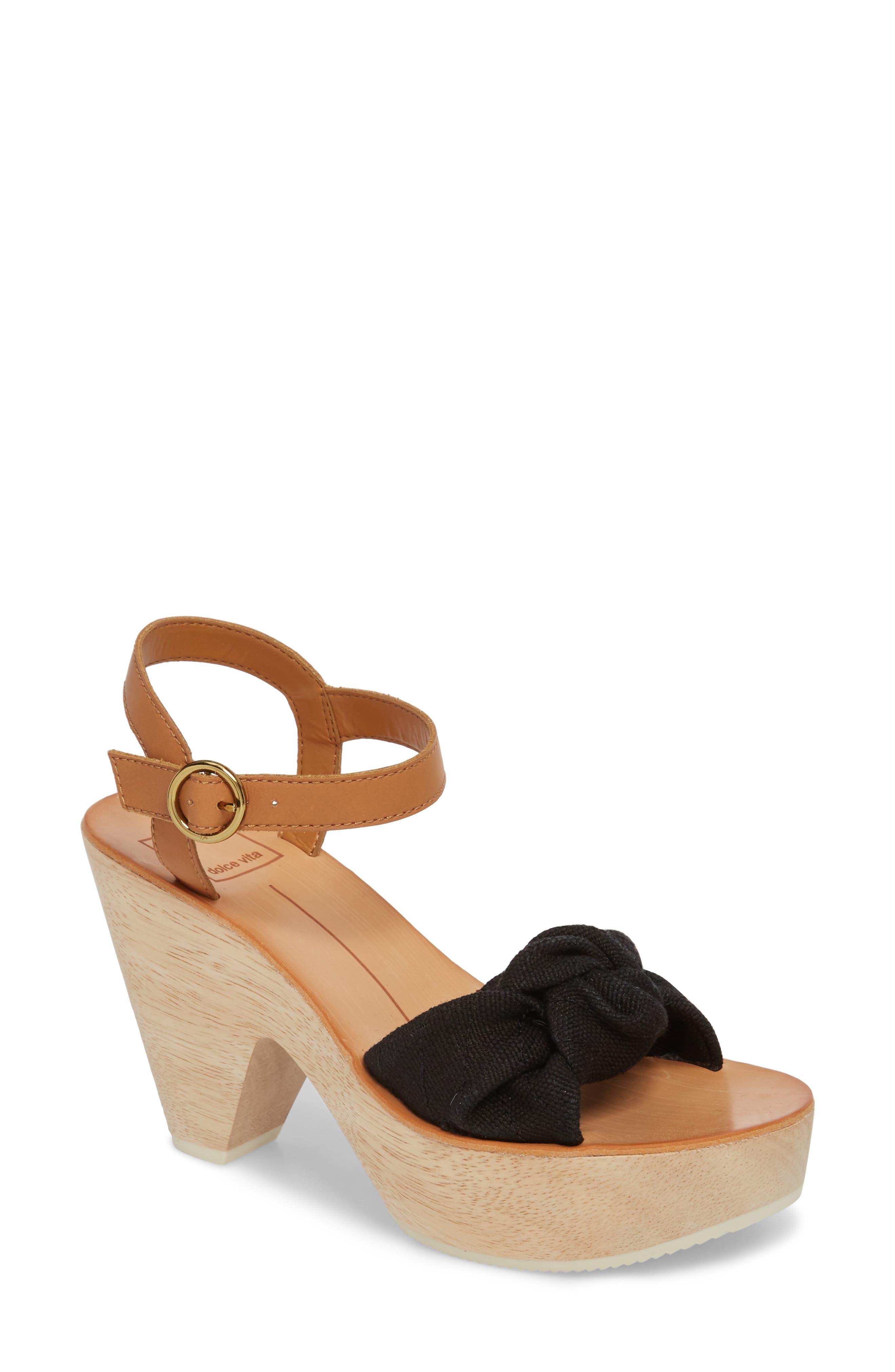 Shia Knotted Platform Sandal,                         Main,                         color, Black Linen
