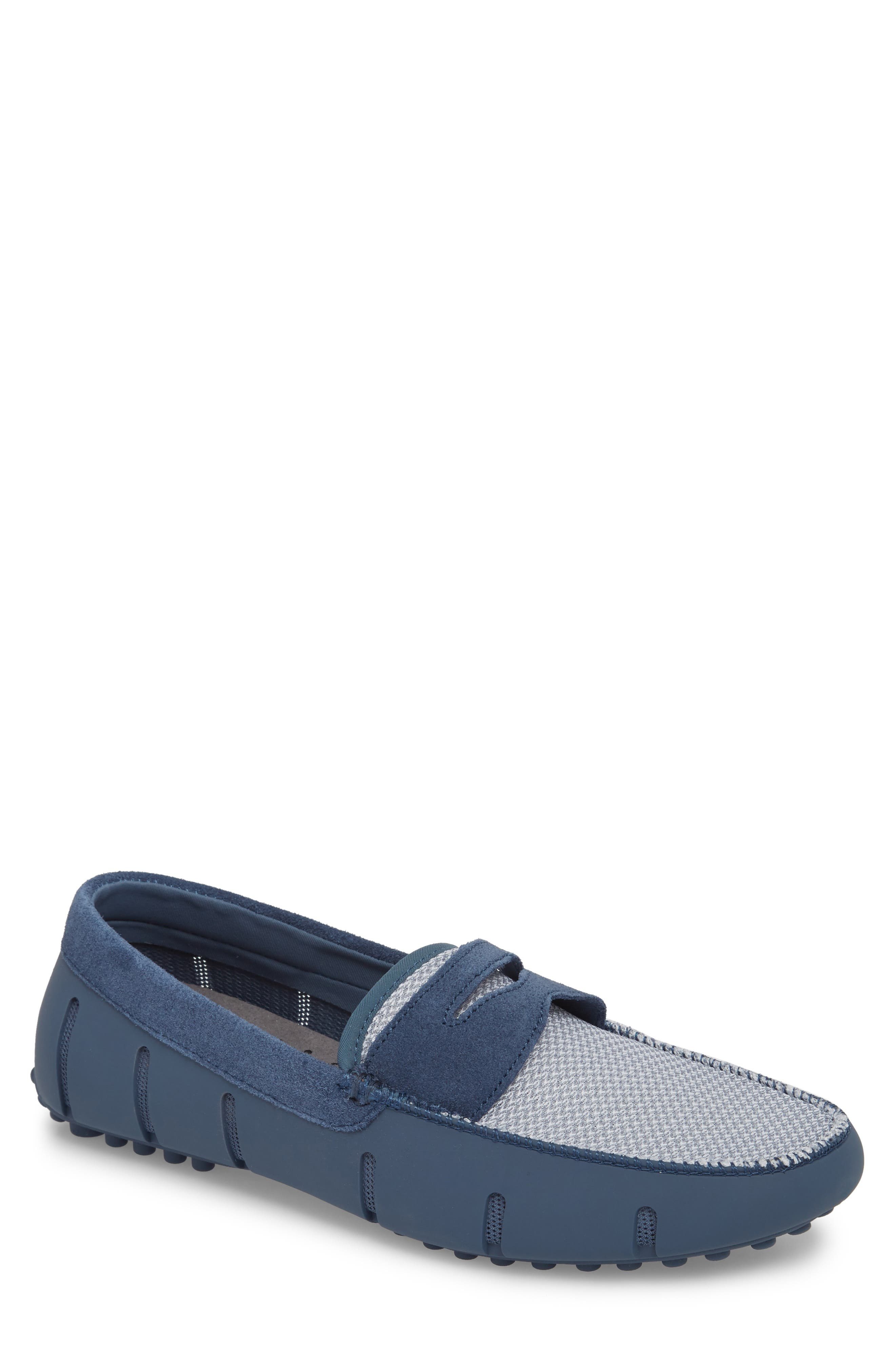 Driving Shoe,                         Main,                         color, Slate/ White Fabric