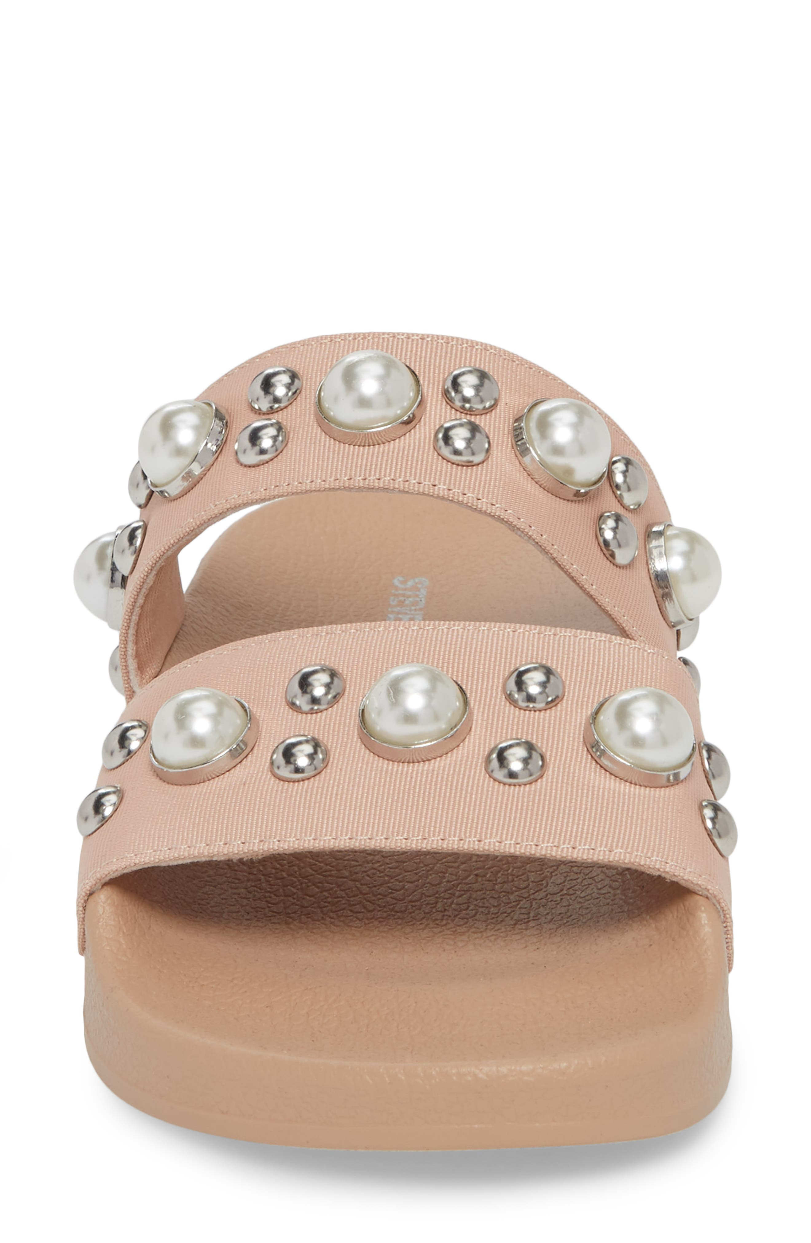 Polite Embellished Slide Sandal,                             Alternate thumbnail 4, color,                             Blush