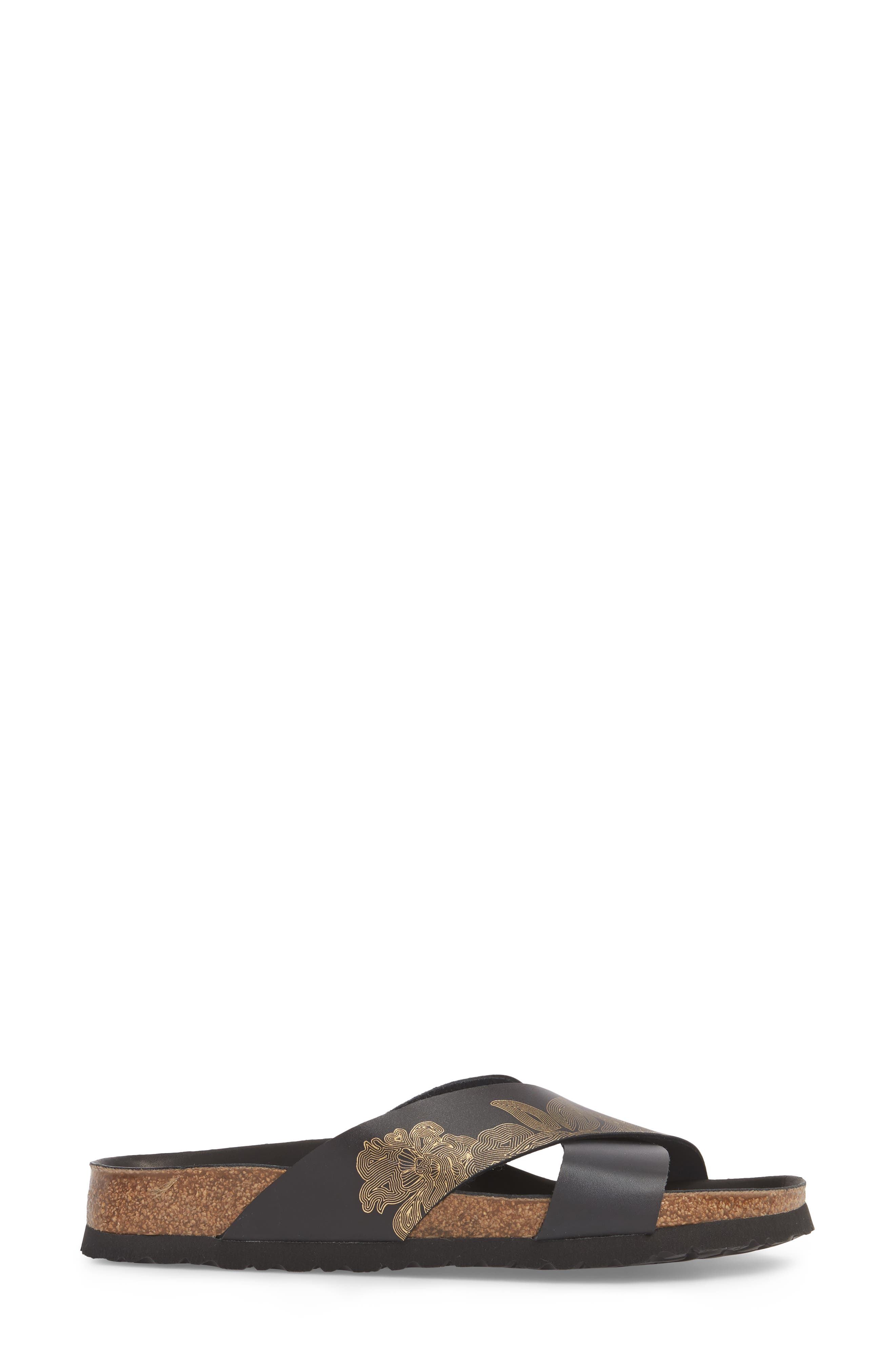 Papillio by Birkenstock Daytona Hex Slide Sandal,                             Alternate thumbnail 3, color,                             Ornaments Black Leather