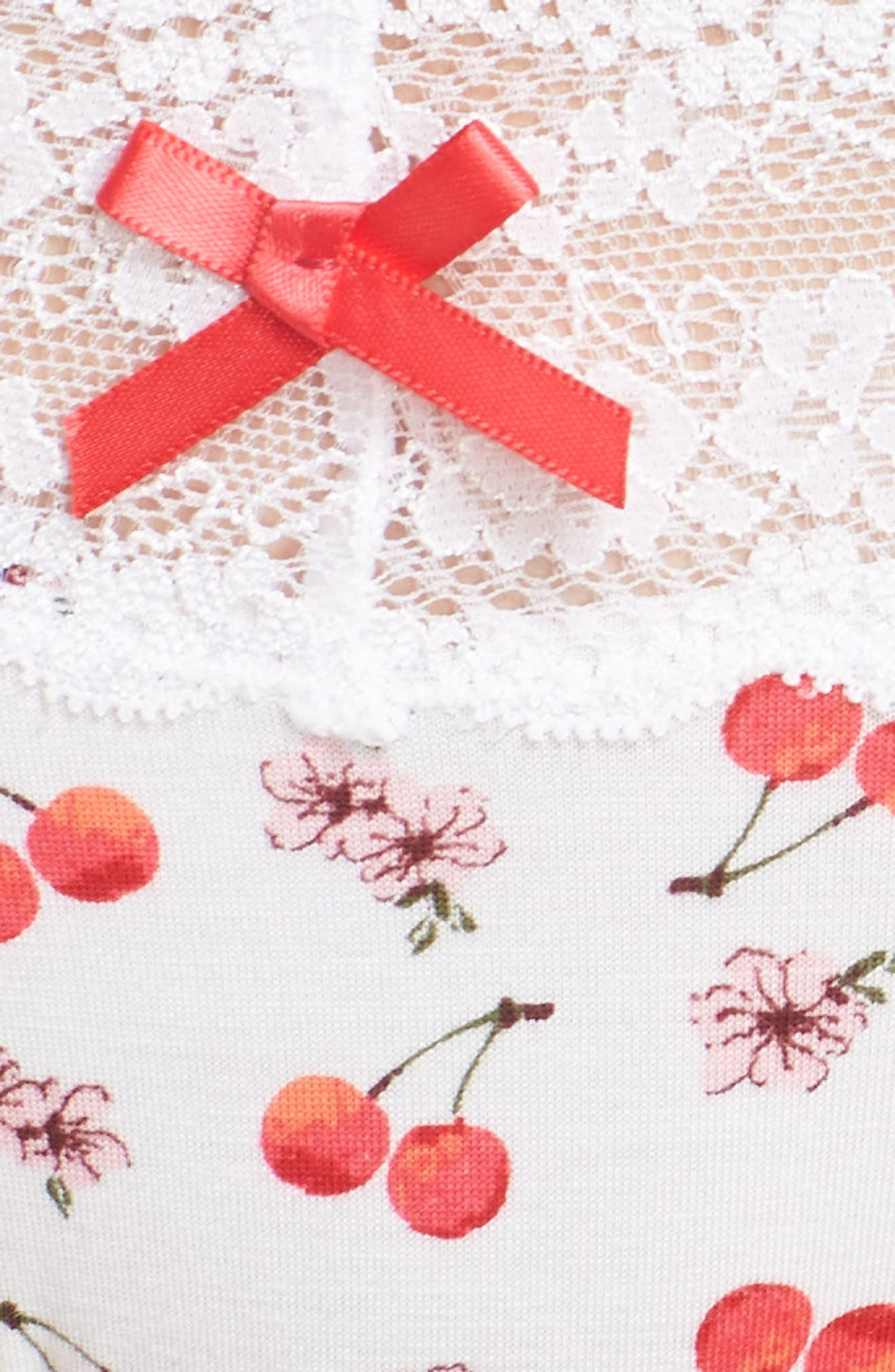 Lace Trim Low Rise Thong,                             Alternate thumbnail 5, color,                             White Cherry Blossom