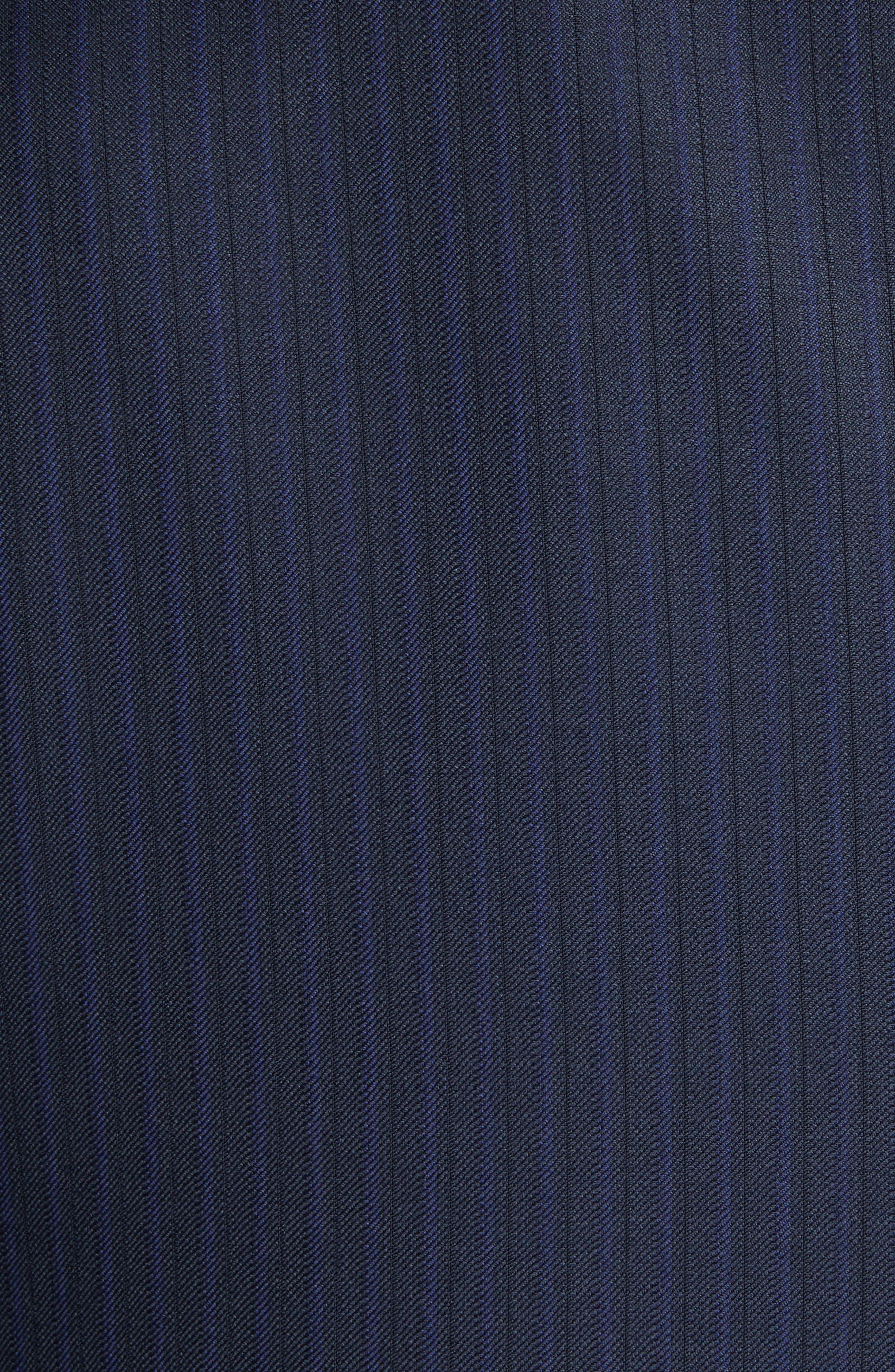 G Line Trim Fit Stripe Wool Suit,                             Alternate thumbnail 6, color,                             Blue