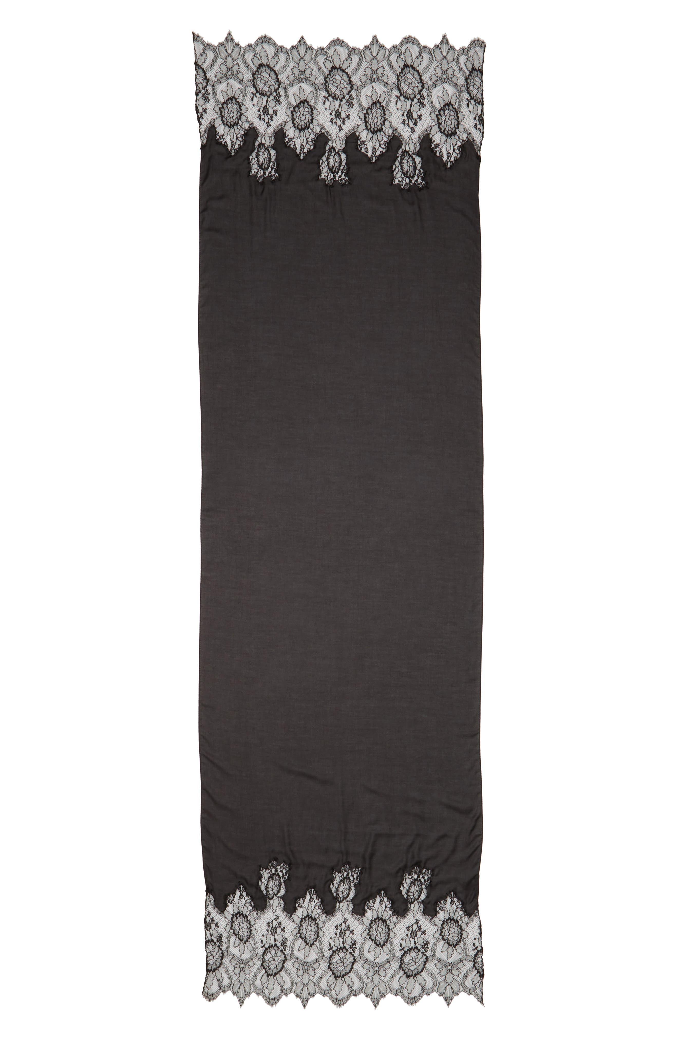 Lace Trim Modal & Cashmere Scarf,                             Alternate thumbnail 2, color,                             Nero/ Nero