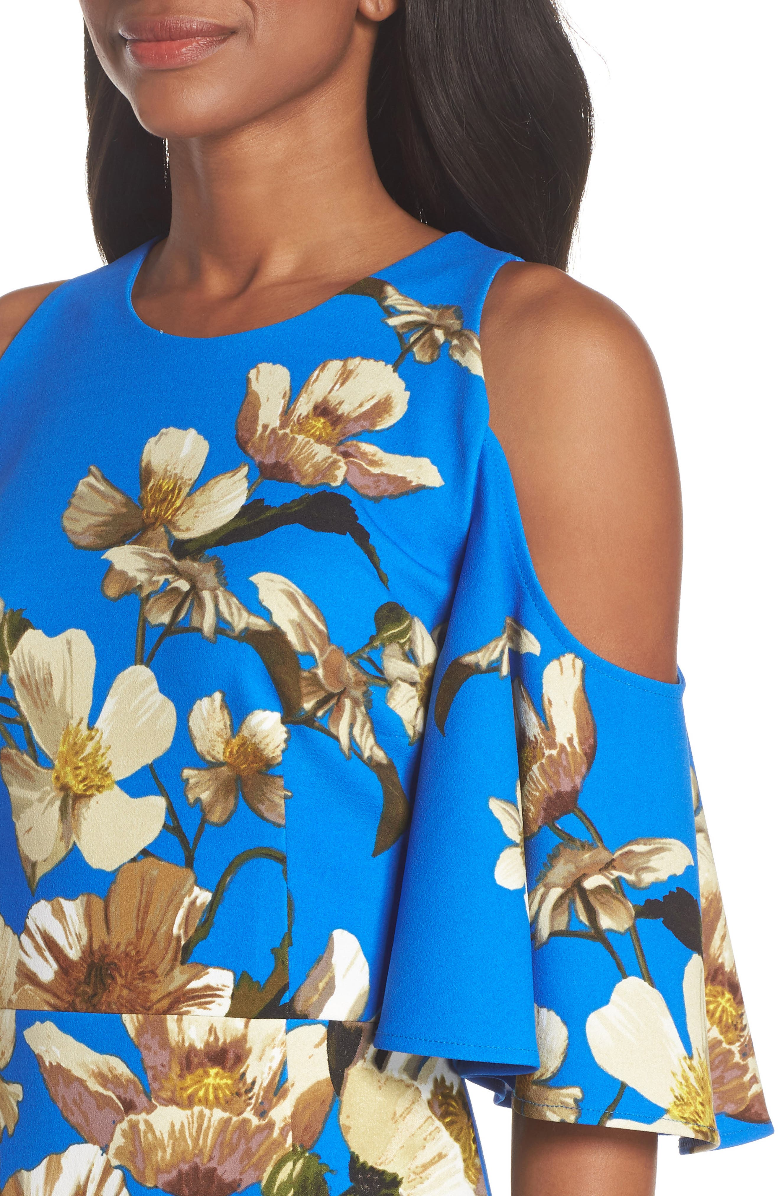 Floral Cold Shoulder Sheath Dress,                             Alternate thumbnail 4, color,                             Blue/ Neutral
