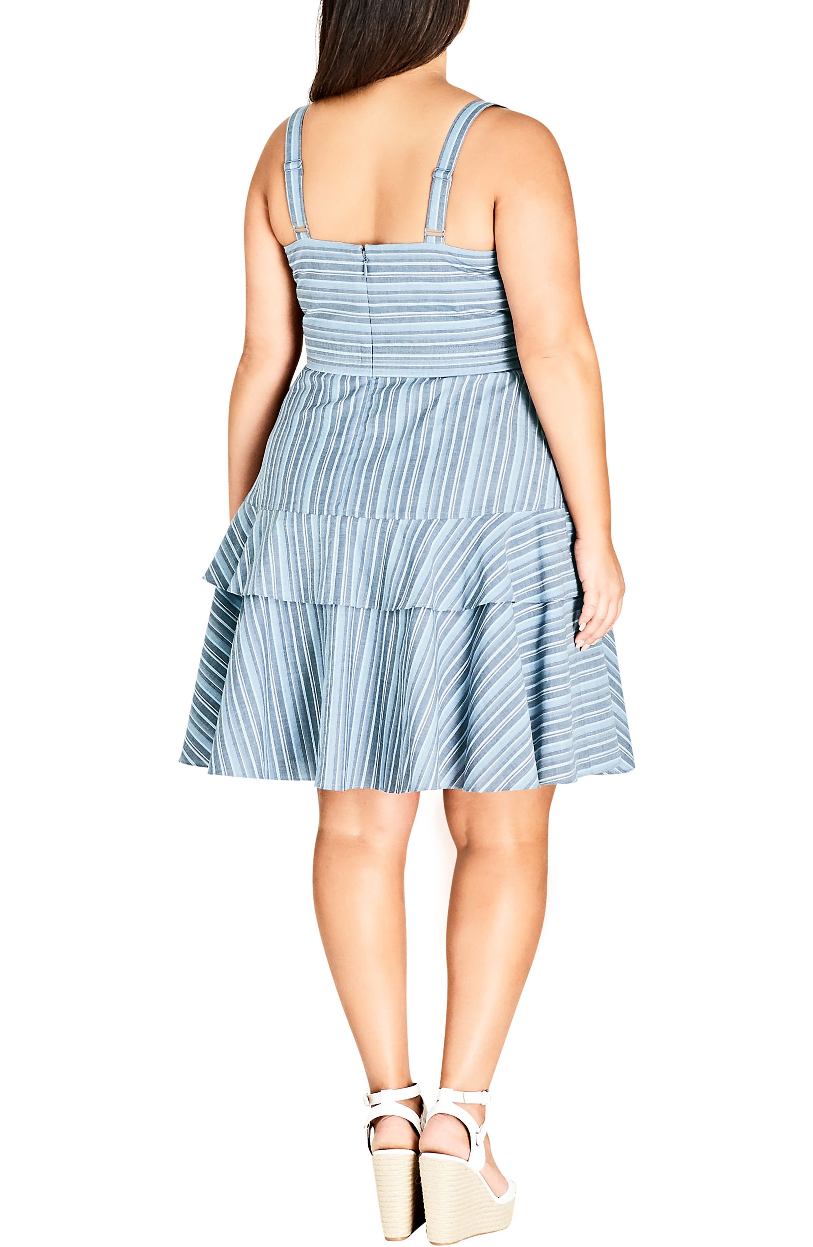Summer Ruffle Stripe Dress,                             Alternate thumbnail 2, color,                             Blue
