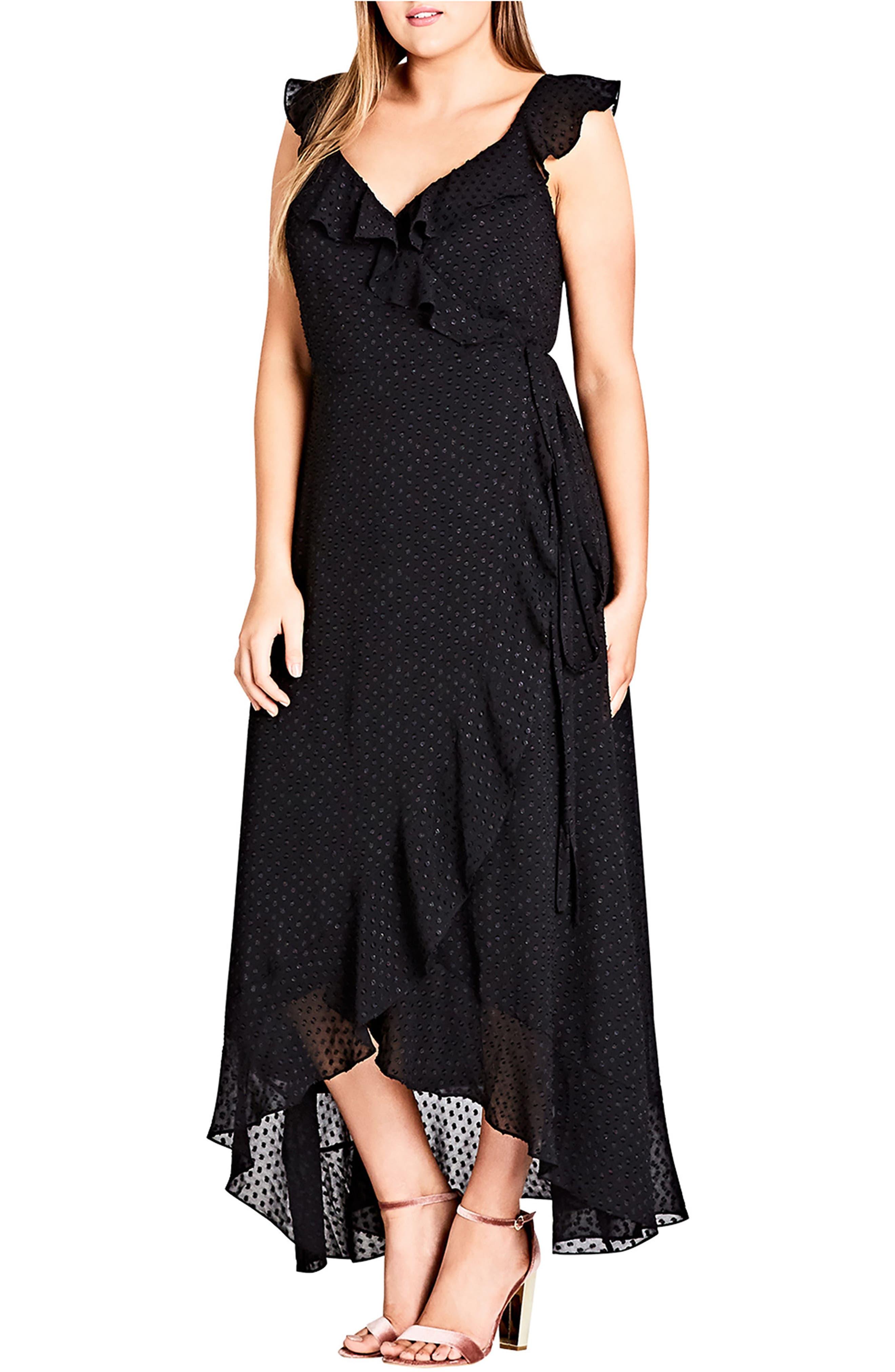 Dot Fil Coupé Ruffle Maxi Dress,                             Main thumbnail 1, color,                             Black