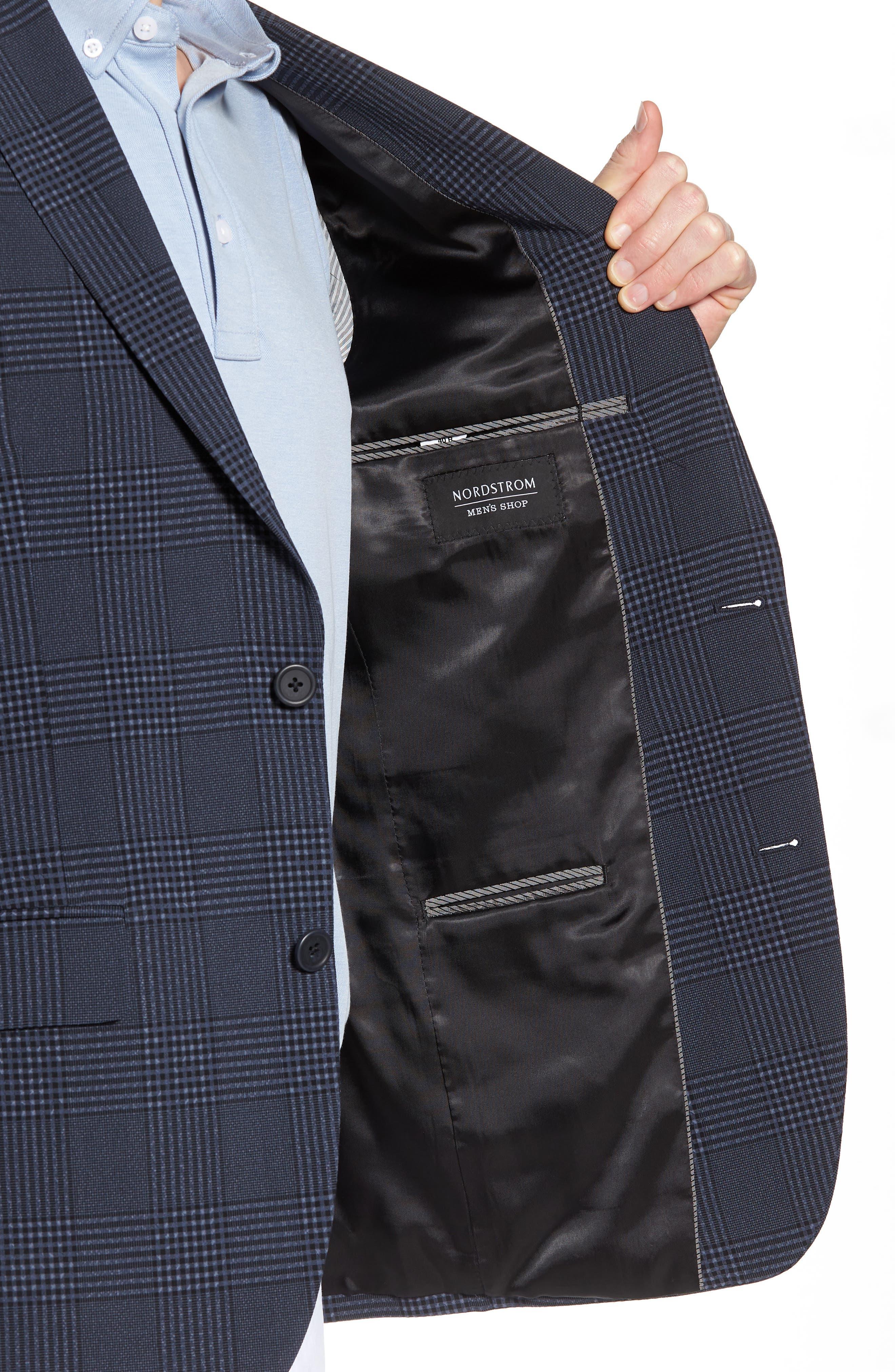 Trim Fit Plaid Wool Blend Sport Coat,                             Alternate thumbnail 4, color,                             Navy