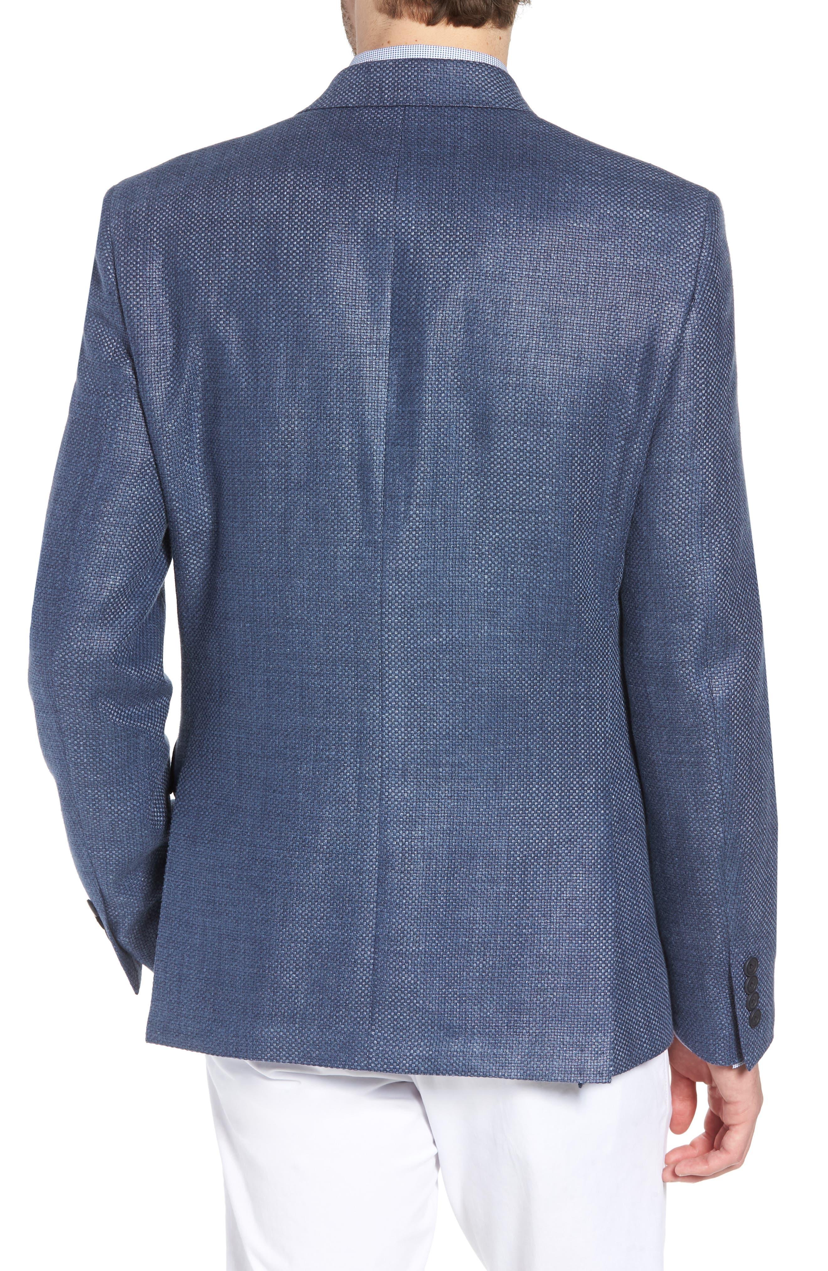 Trim Fit Wool & Linen Blazer,                             Alternate thumbnail 2, color,                             Blue