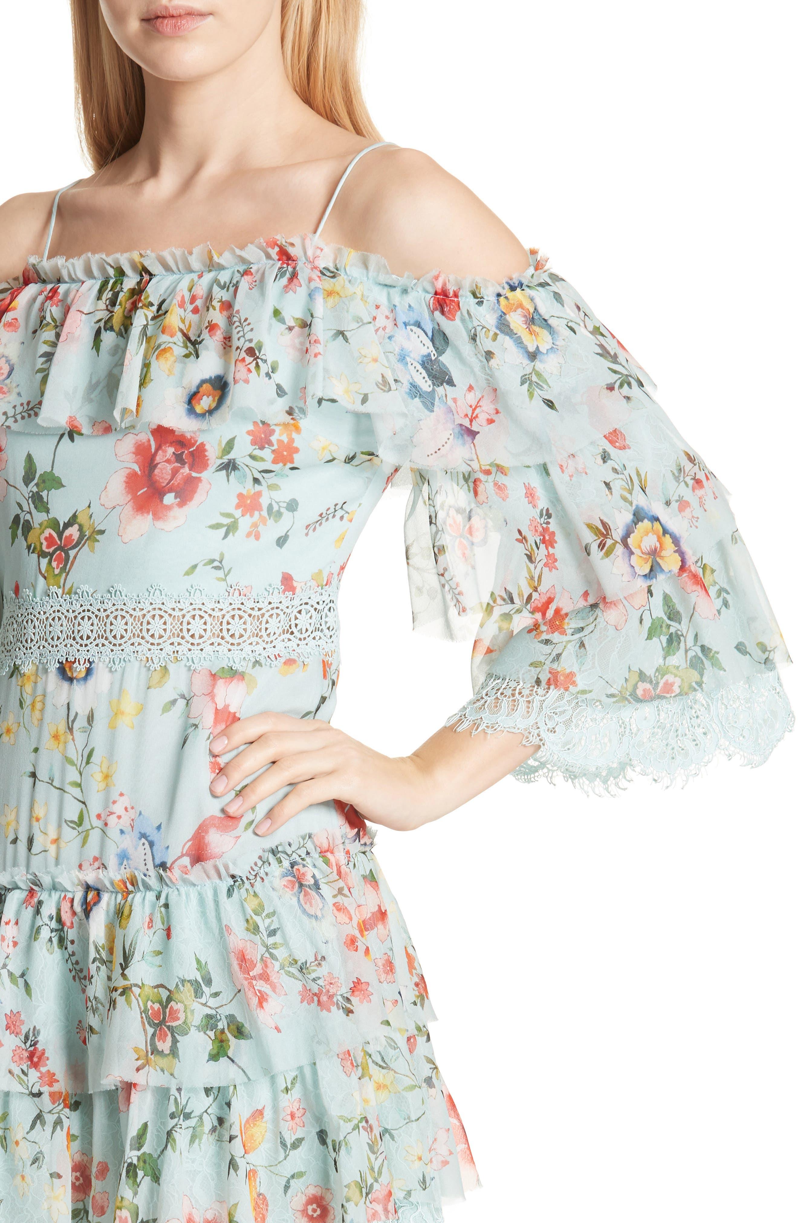 Santos Cold Shoulder Tiered Silk Dress,                             Alternate thumbnail 4, color,                             Floral Soiree-Dusty Aqua