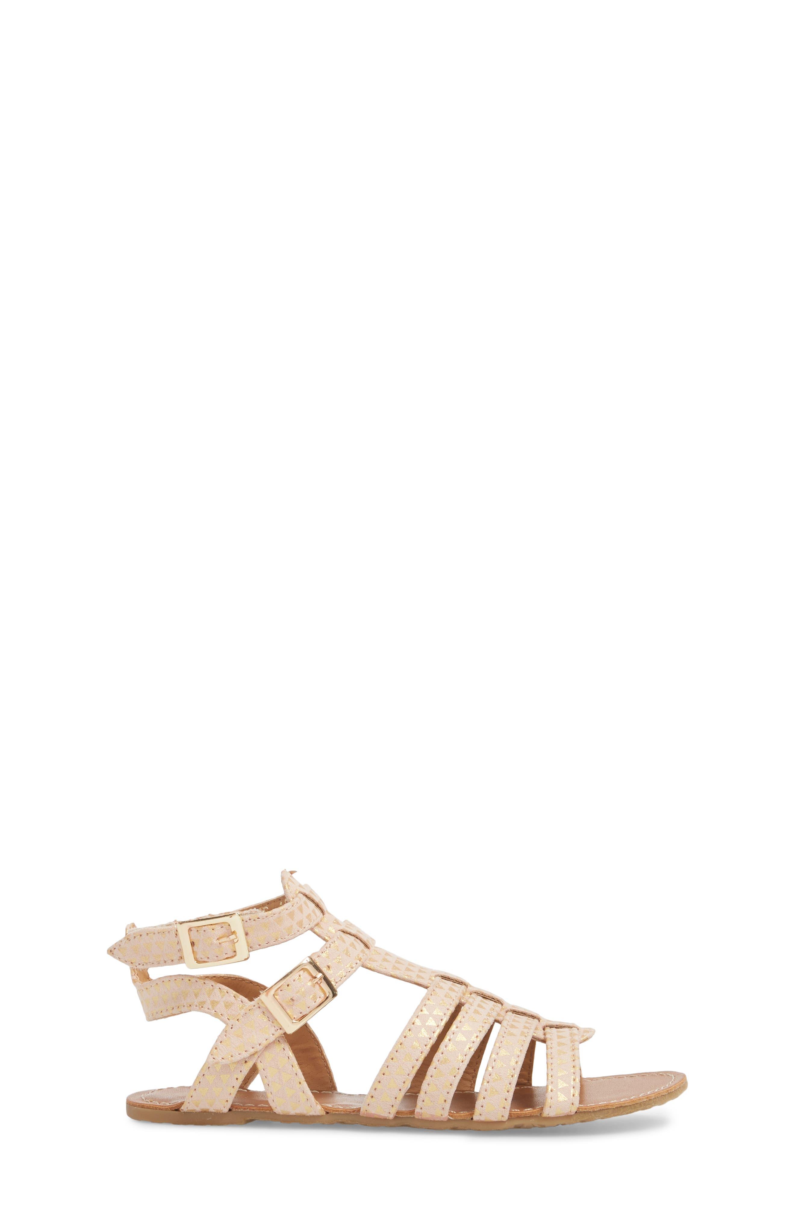 Kiera Bite Metallic Sandal,                             Alternate thumbnail 3, color,                             Gold