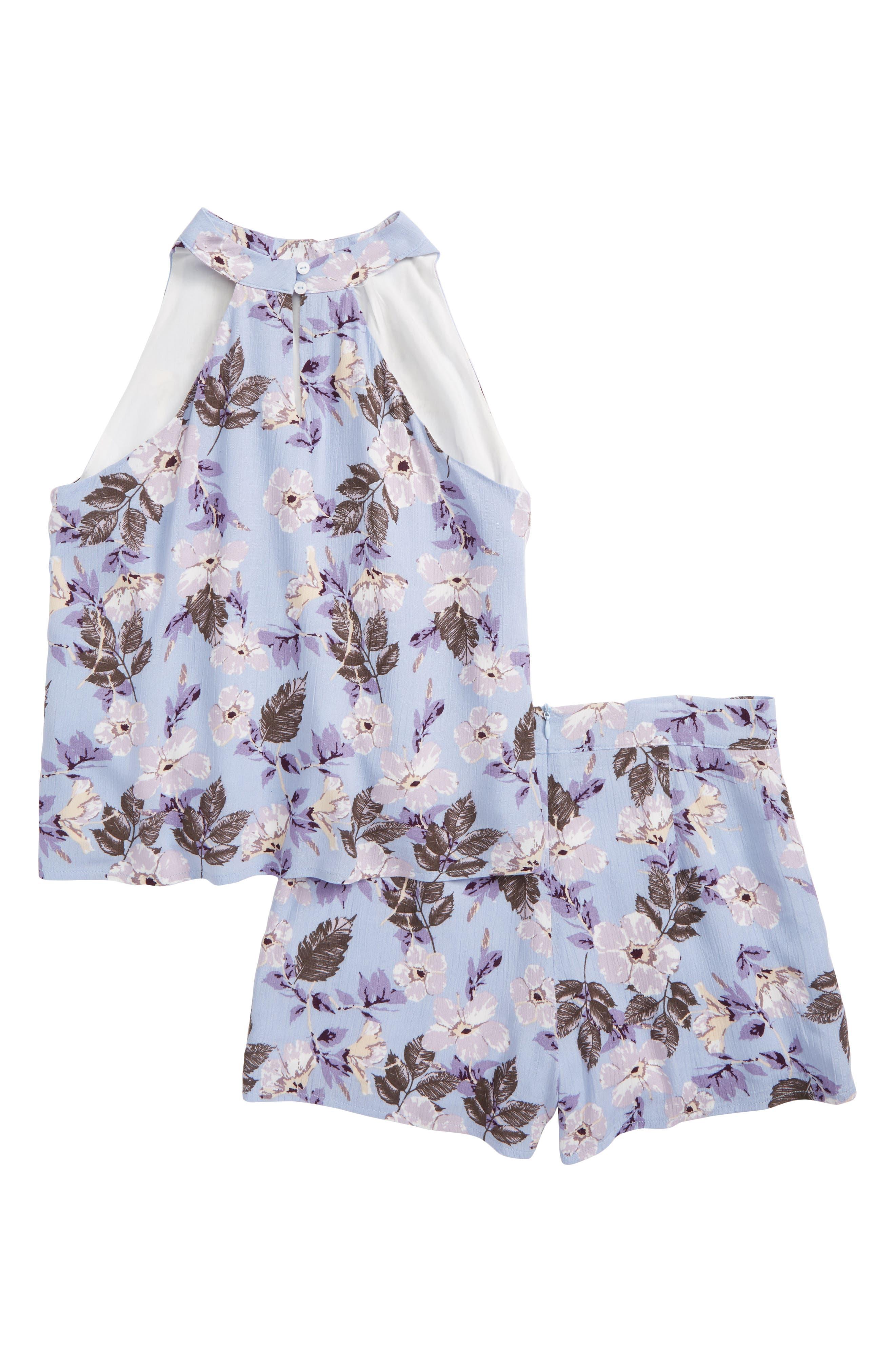 Print Halter Top & Shorts Set,                             Alternate thumbnail 2, color,                             Lavender