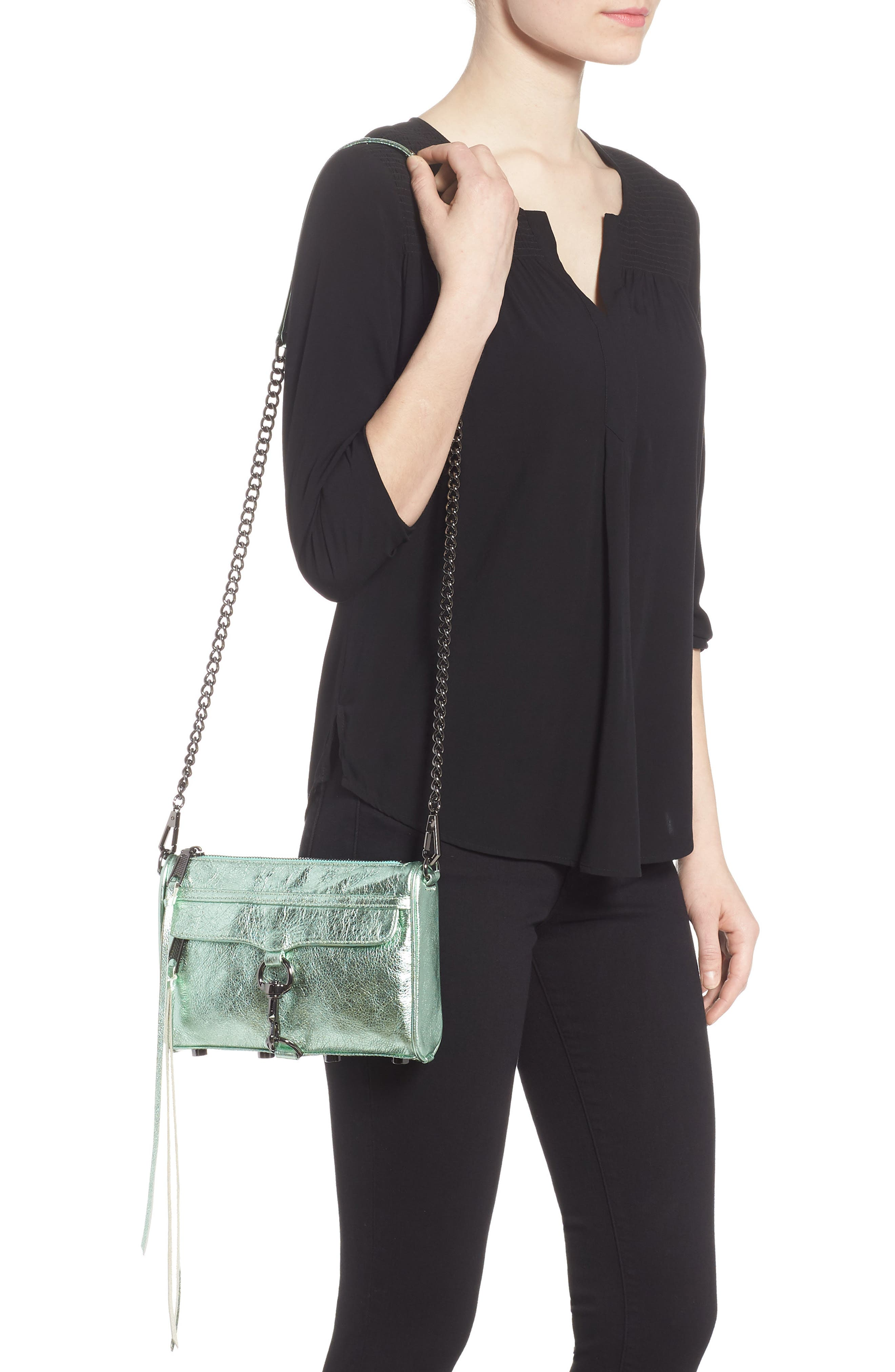 Mini MAC Metallic Leather Convertible Crossbody Bag,                             Alternate thumbnail 2, color,                             Mint
