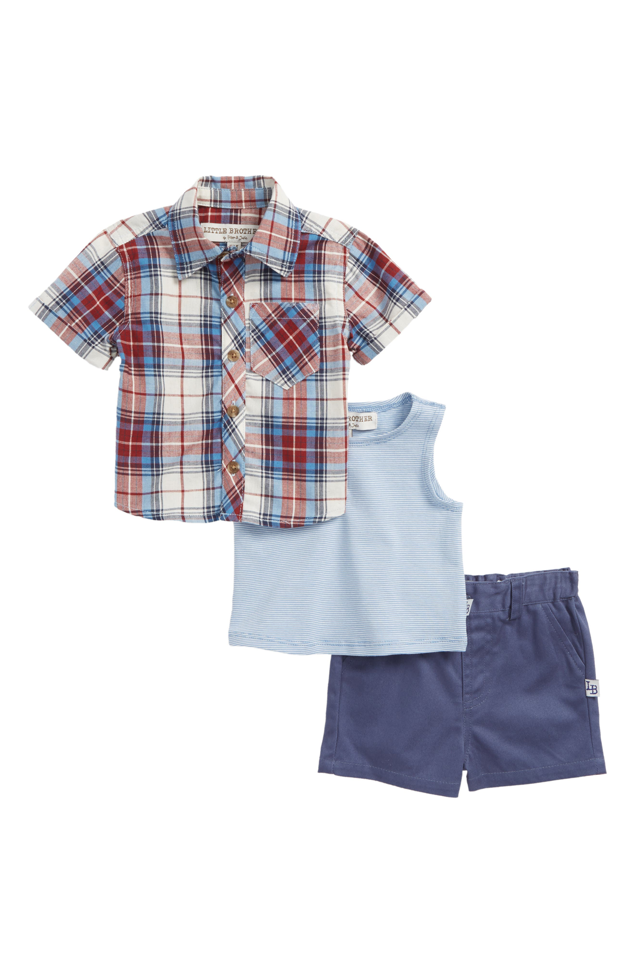 Little Brother by Pippa & Julie Plaid Shirt, Tank Top & Shorts Set (Baby Boys)