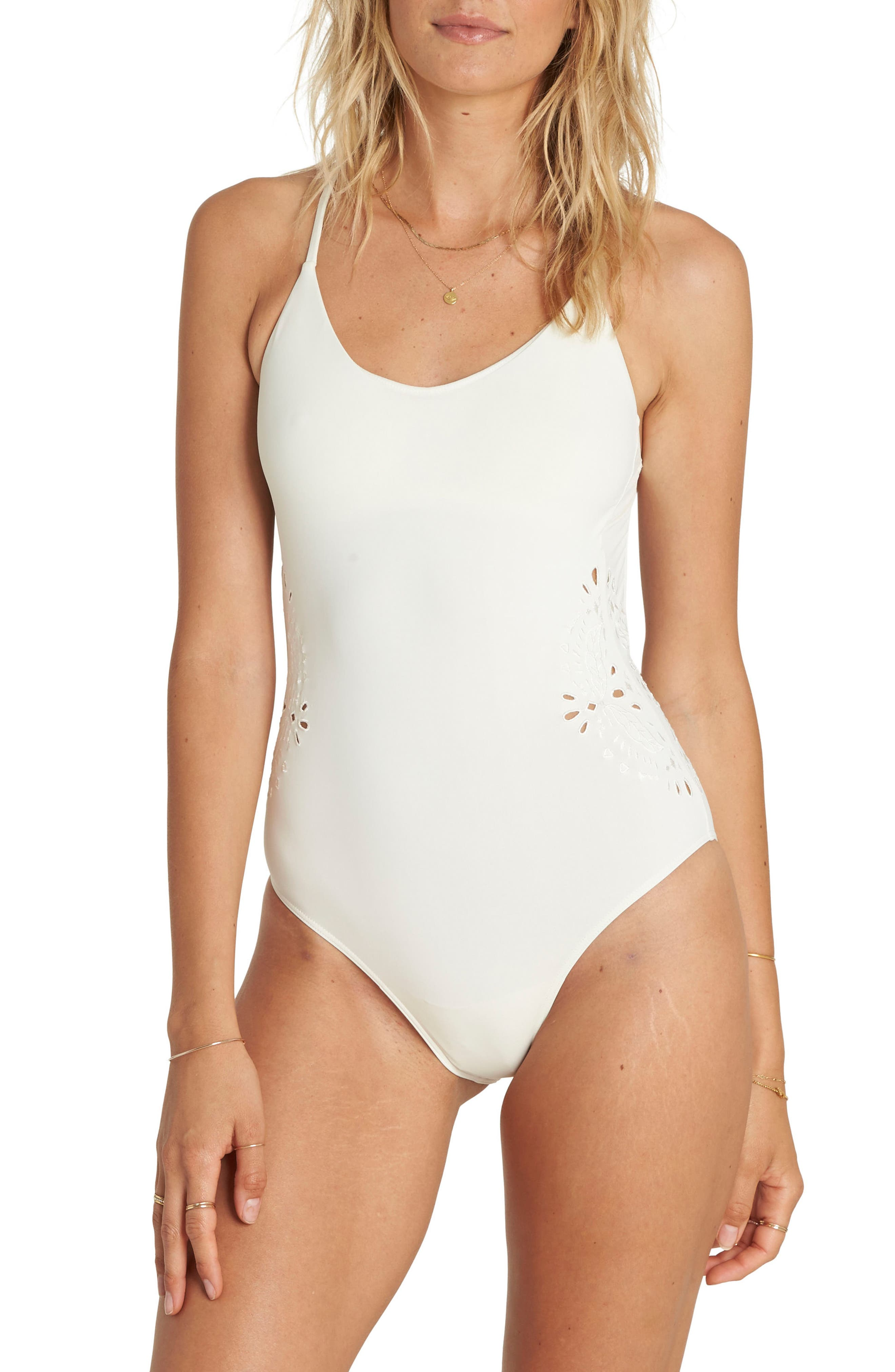 Bright One One-Piece Swimsuit,                             Main thumbnail 1, color,                             Seashell