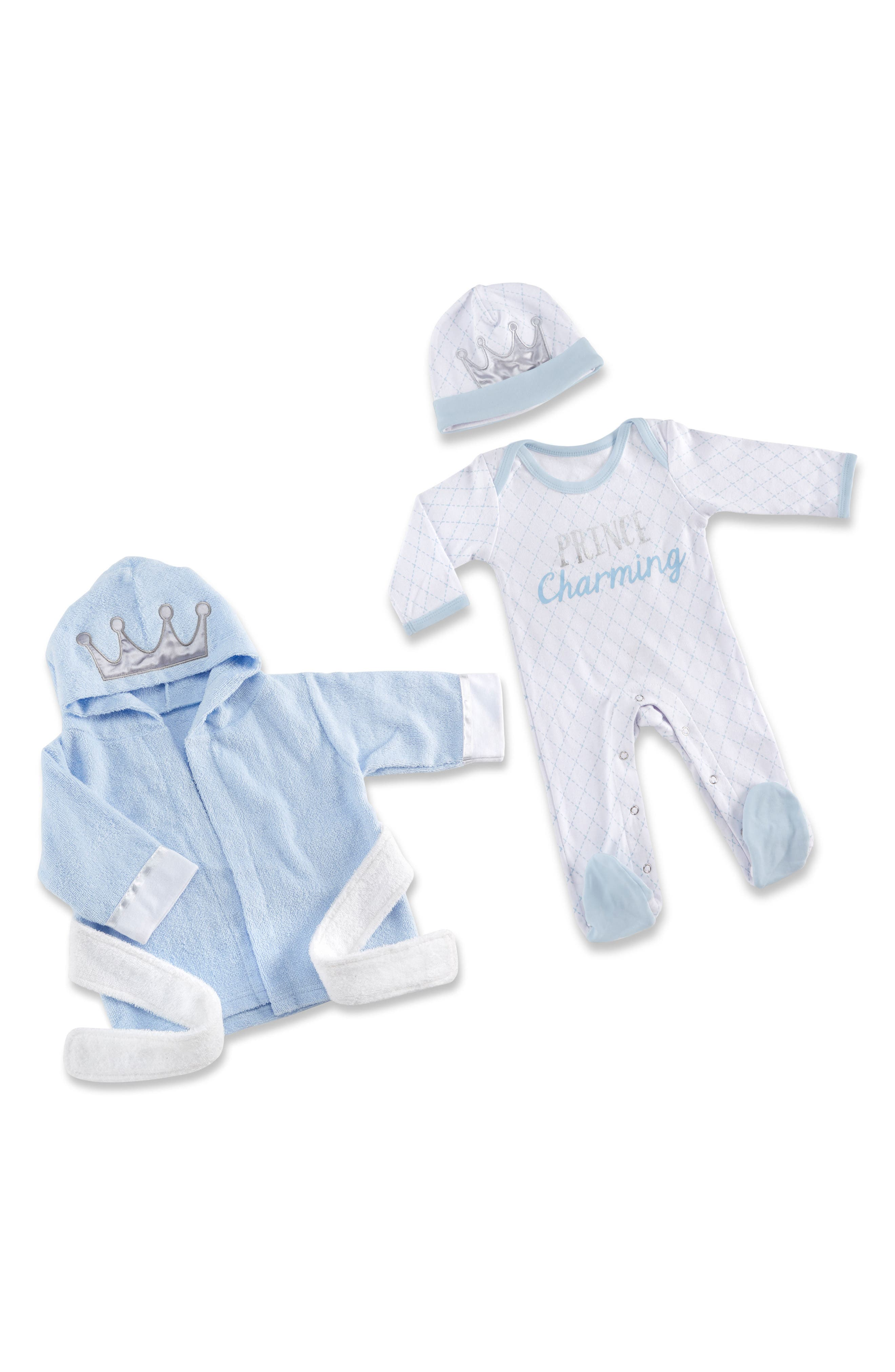 Little Prince Plush Robe, One-Piece Pajamas & Hat Set,                             Main thumbnail 1, color,                             Blue/ White