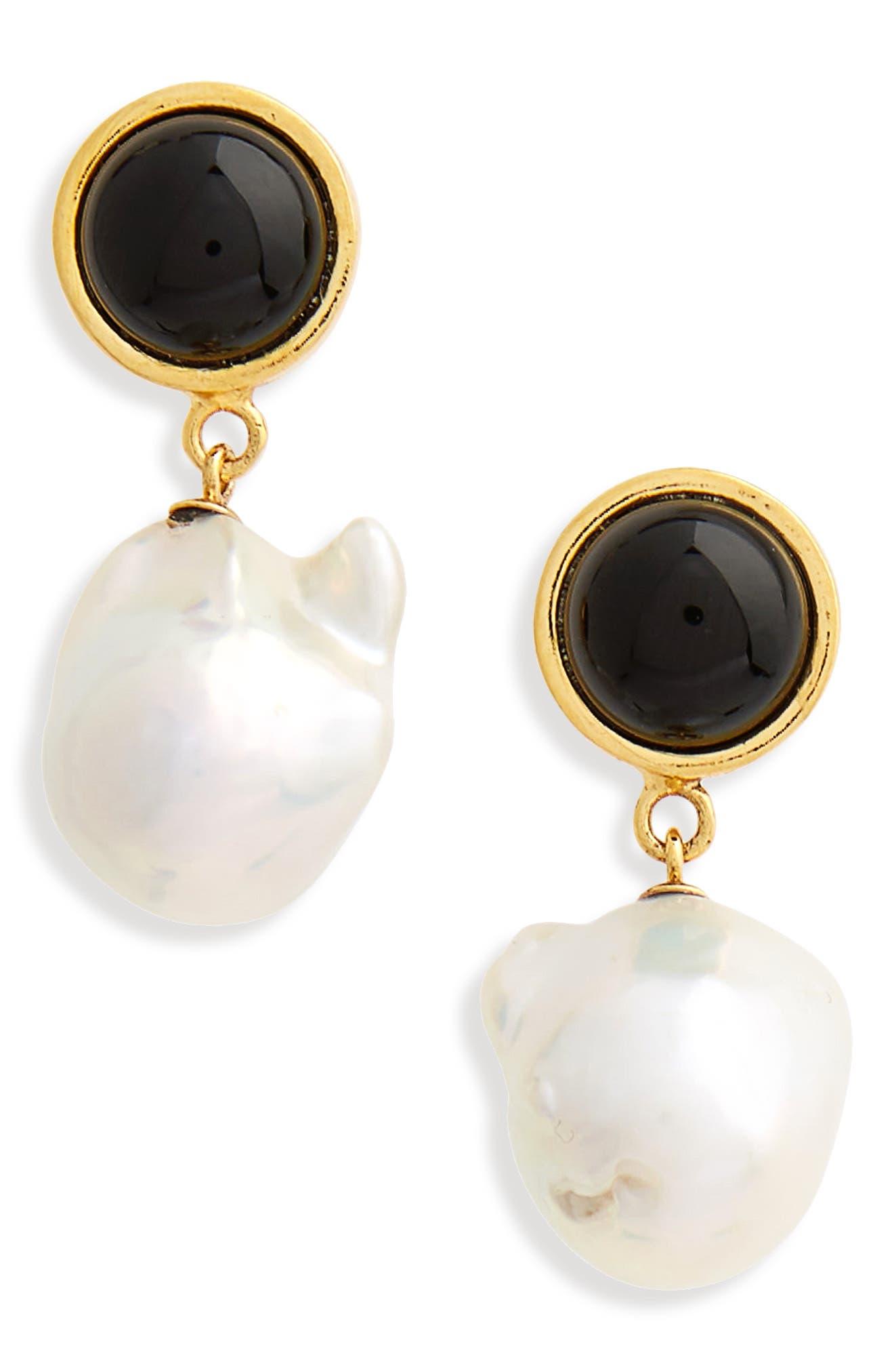 Tuxedo Pearl Drop Earrings,                             Main thumbnail 1, color,                             Pearl